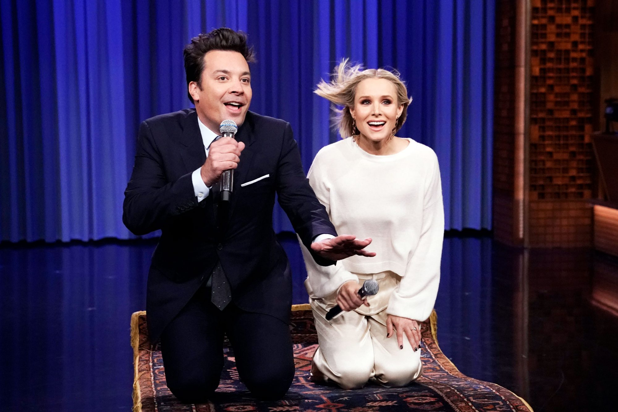 "Jimmy Fallon and actress Kristen Bell during ""The History of Disney Songs"" on November 12, 2019"