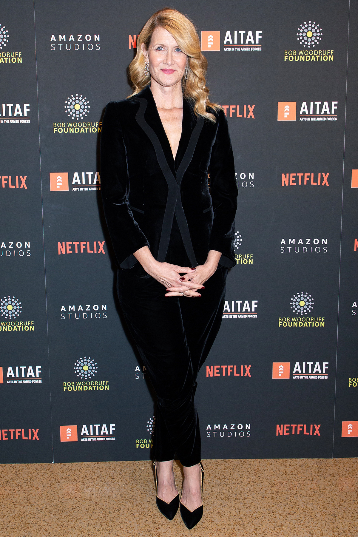Laura Dern attends Arts in the Armed Forces 11th Annual Broadway Event for the staged reading of A Raisin in the Sun at American Airlines Theatre on November 11, 2019