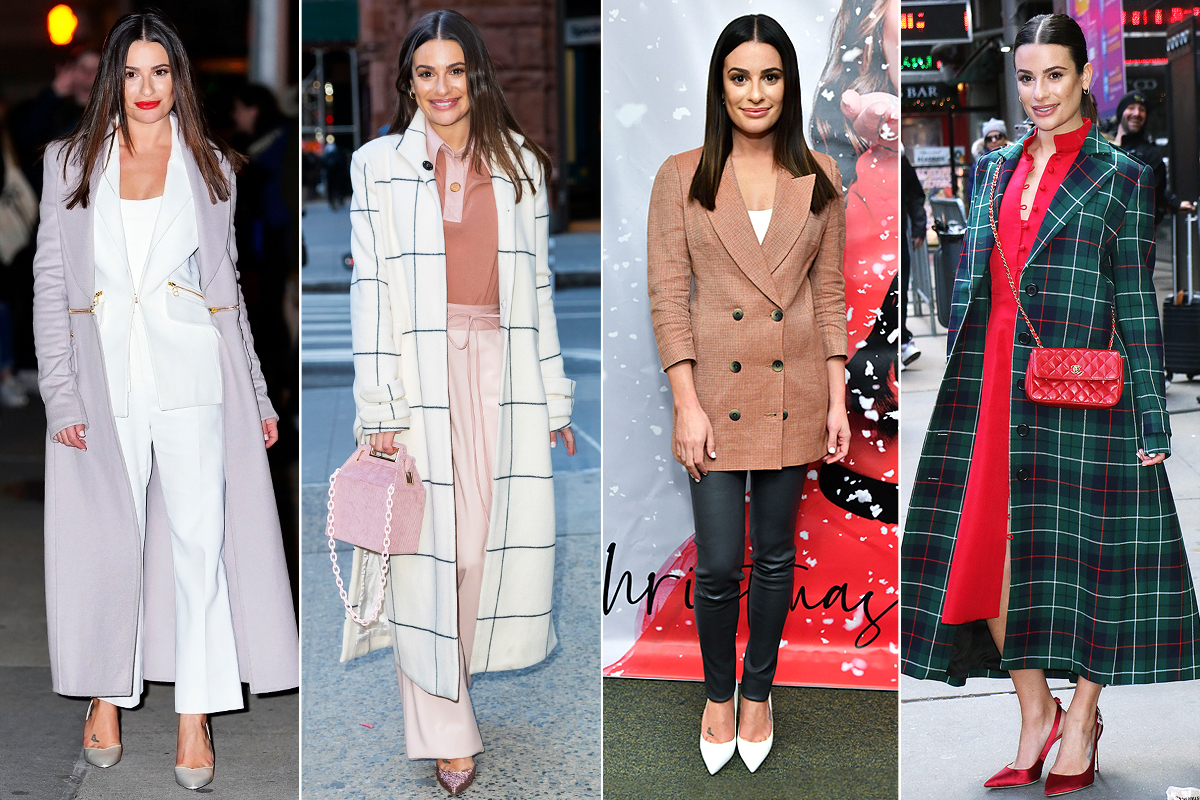 NEW YORK, NEW YORK - DECEMBER 05: Lea Michele outfit changes