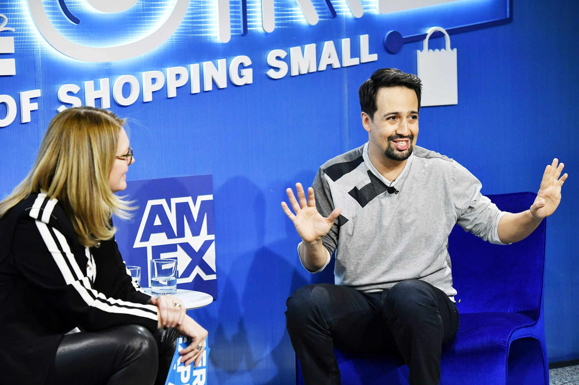 American Express kicks off the 10th annual Small Business Saturday with a fireside chat hosted by Elizabeth Rutledge and Lin-Manuel Miranda at the Big F1uture Of Shopping Small Experience on November 21, 2019 in New York City