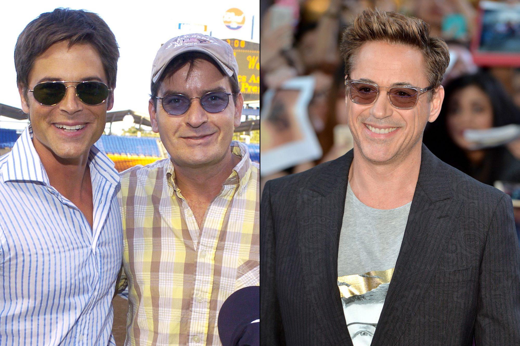 Rob Lowe, Charlie Sheen, and Robert Downey Jr.