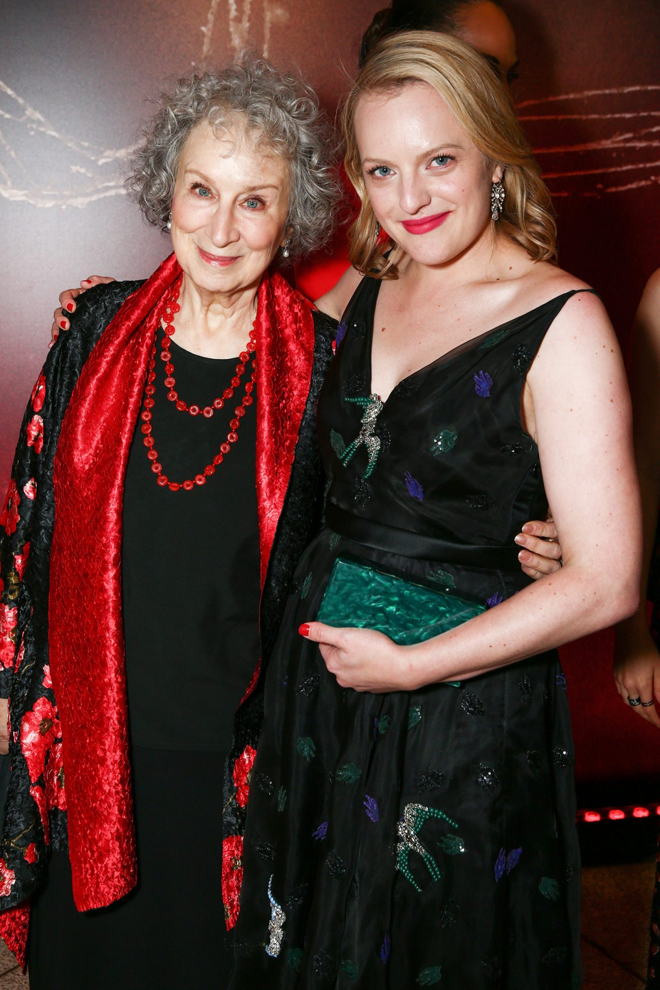 """Margaret Atwood (L) and actor Elisabeth Moss attend the premiere of Hulu's """"The Handmaid's Tale"""" at ArcLight Cinemas Cinerama Dome on April 25, 2017"""