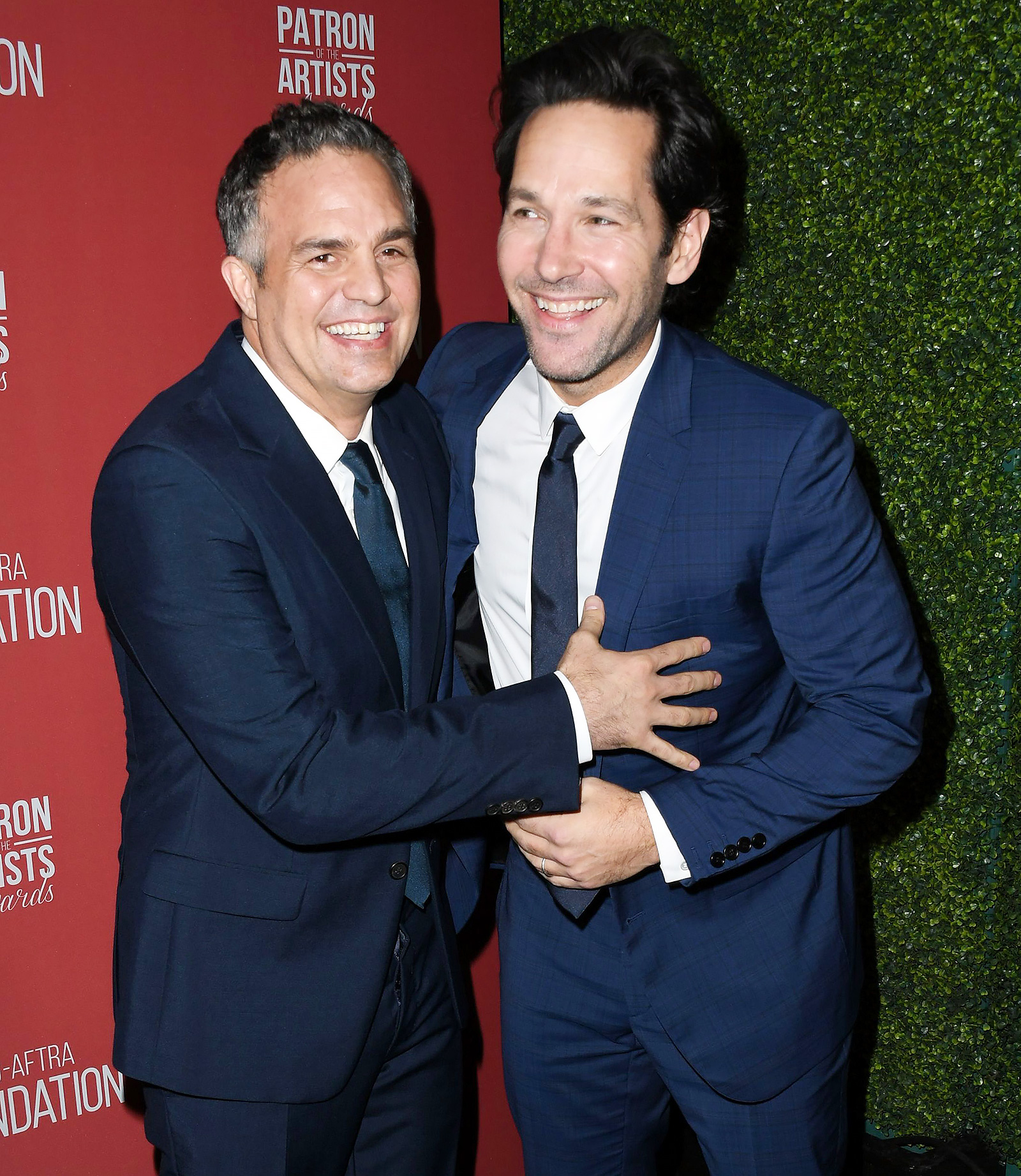 Mark Ruffalo and Paul Rudd attend SAG-AFTRA Foundation's 4th Annual Patron of the Artists Awards at Wallis Annenberg Center for the Performing Arts on November 07, 2019 in Beverly Hills, California