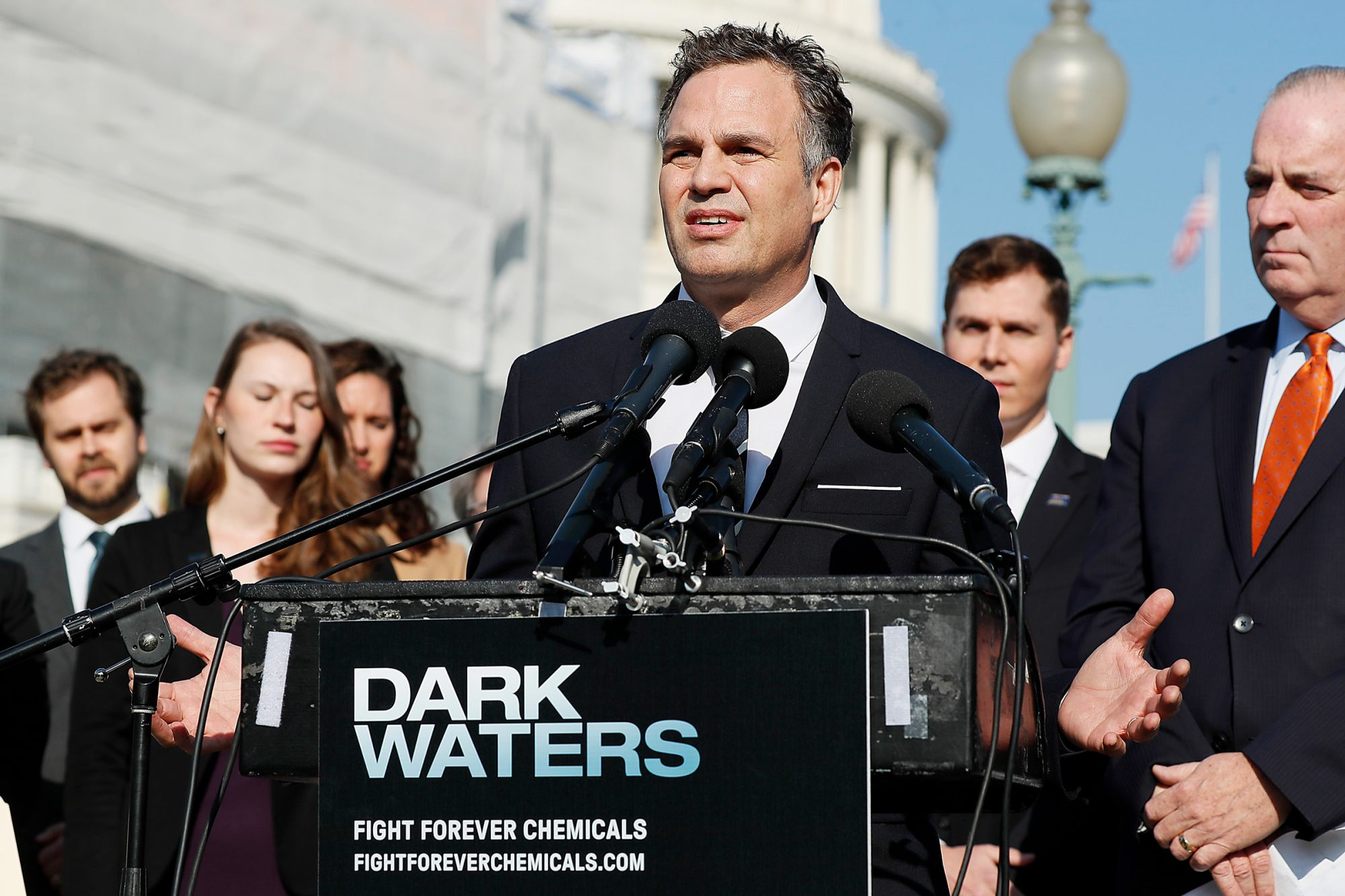 Mark Ruffalo speaks at the Fight Forever Chemicals Campaign kick off event on Capitol Hill on November 19, 2019 in Washington, DC.