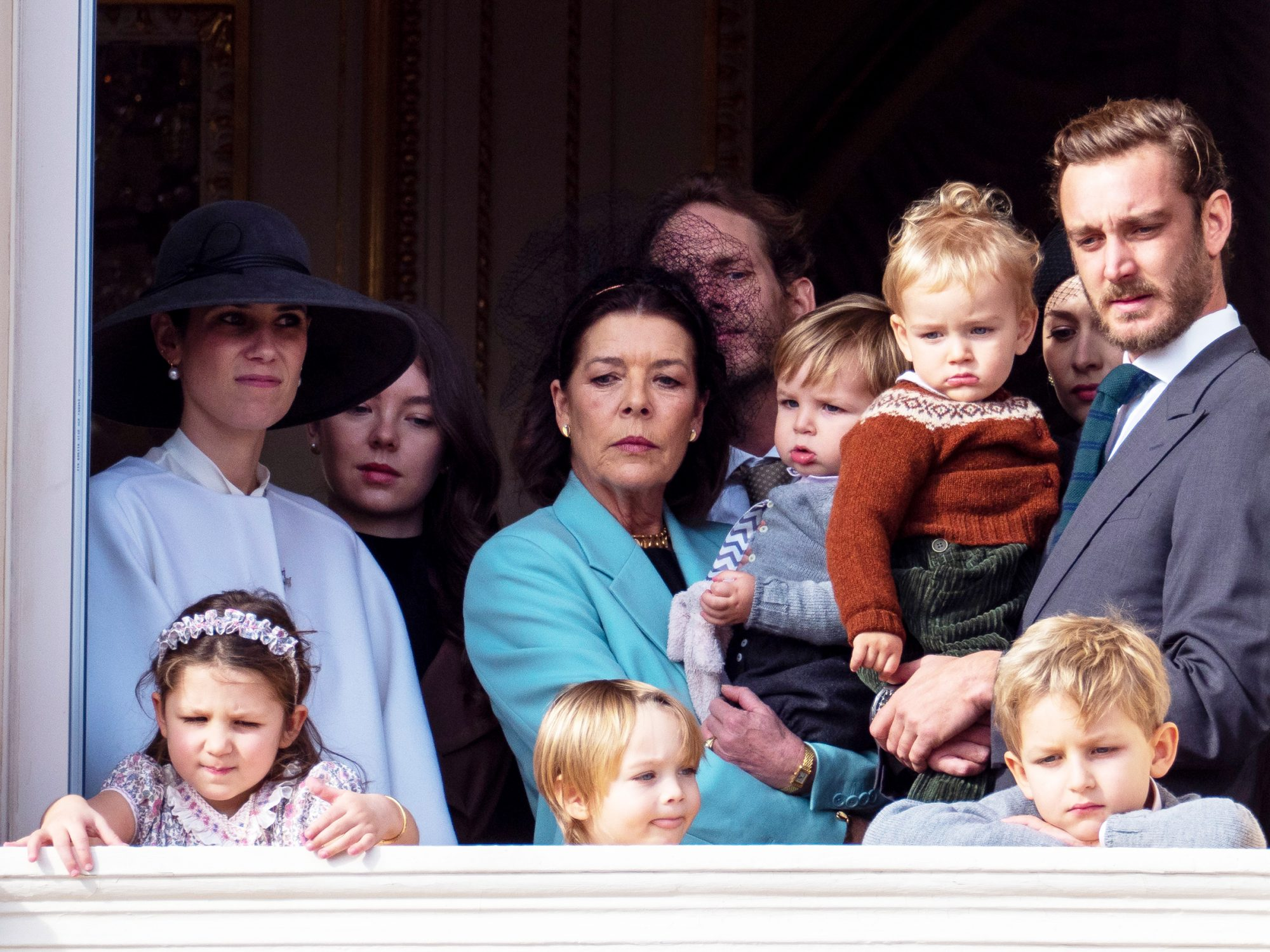 Princess Caroline of Hanover, Pierre Casiraghi with Francesco Casiraghi, India Casiraghi, Stefano Casiraghi and Alexandre Casiraghi stand at the Palace balcony on November 19, 2019 in Monte-Carlo, Monaco