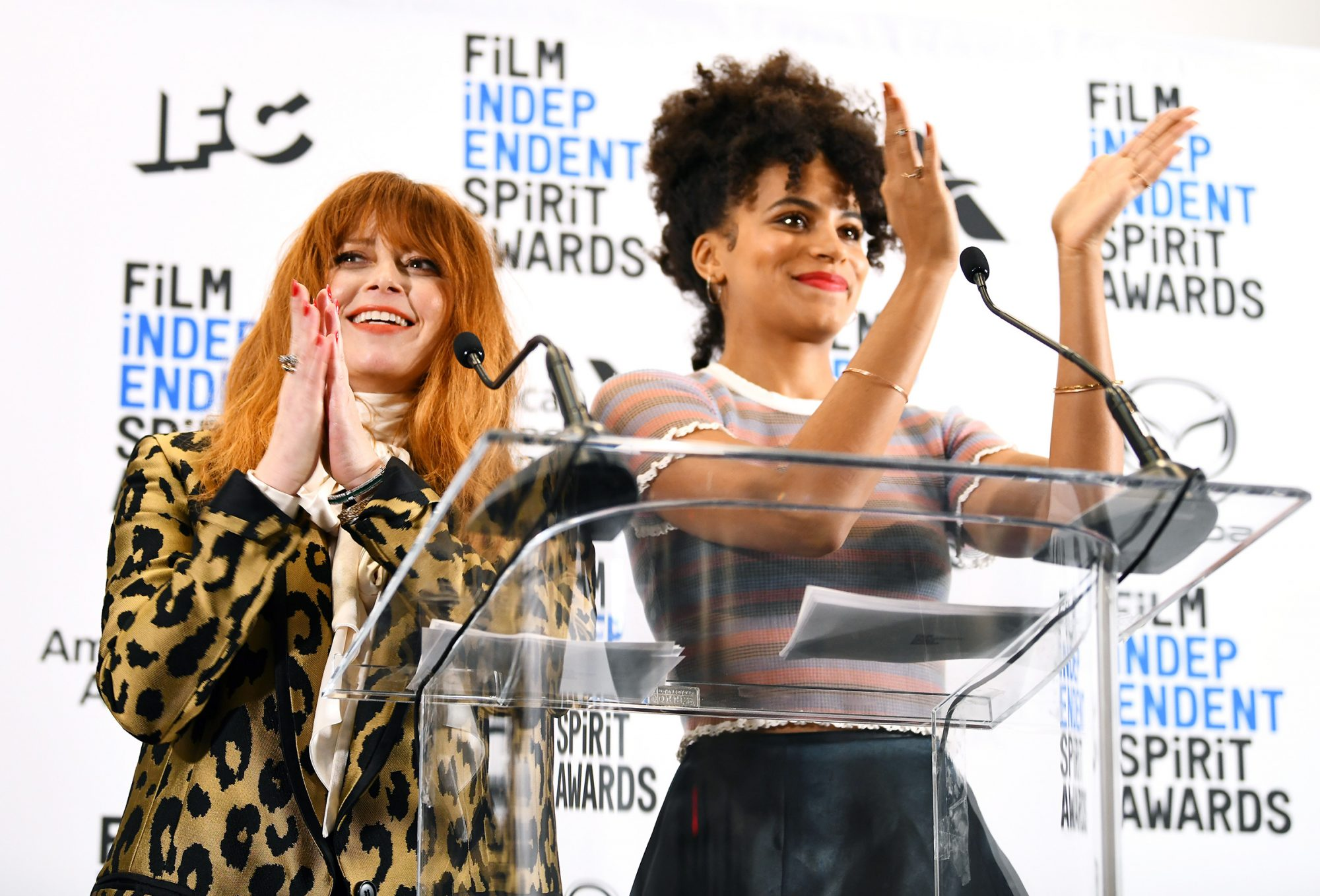 Natasha Lyonne and Zazie Beetz speak onstage during the 35th Film Independent Spirit Awards Nominations Press Conference at The Line Hotel on November 21, 2019 in Los Angeles, California