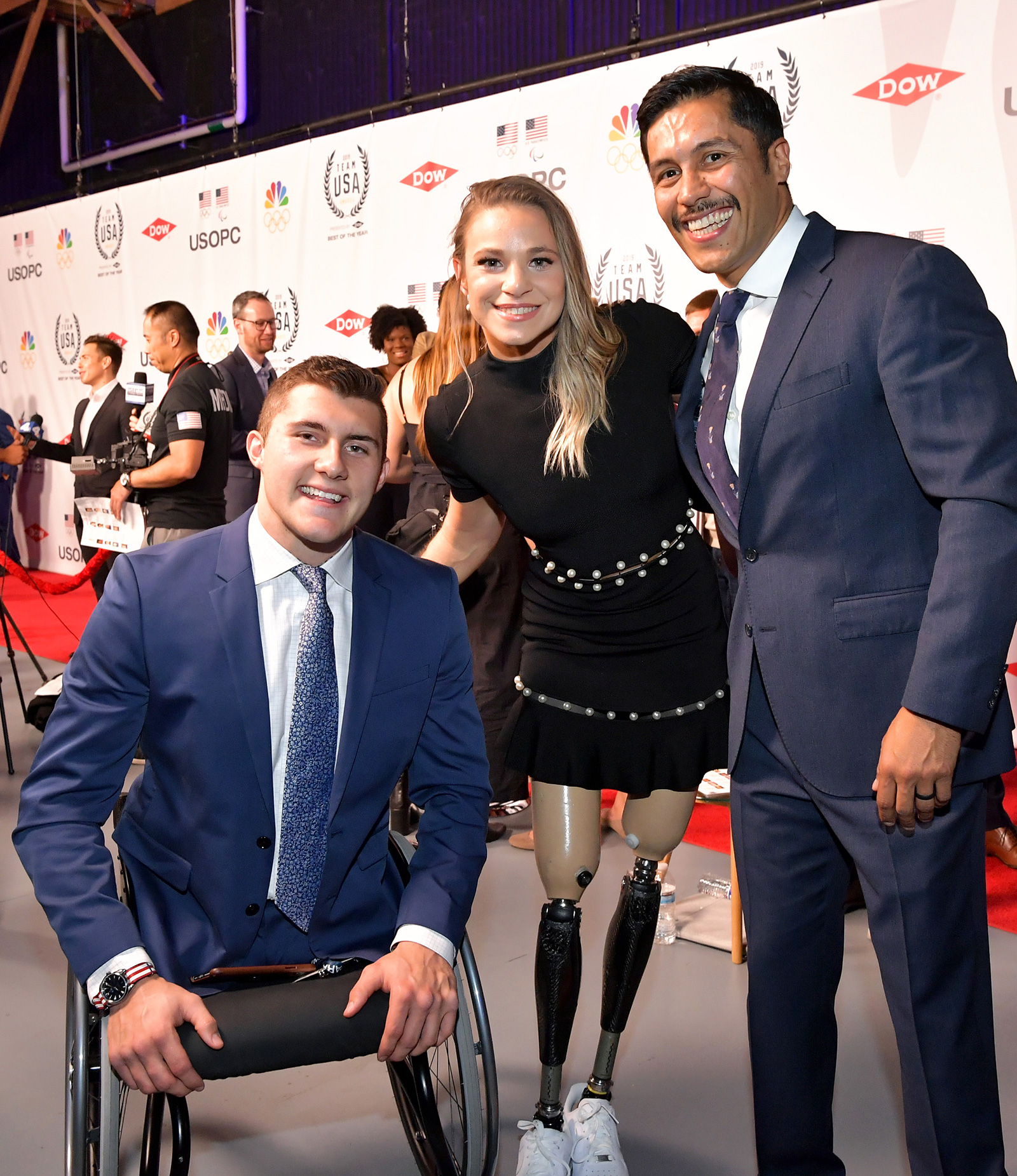 Brody Roybal, Oksana Masters, and Rico Roman attend the 2019 Team USA Awards at Universal Studios Hollywood on November 19, 2019 in Universal City, California
