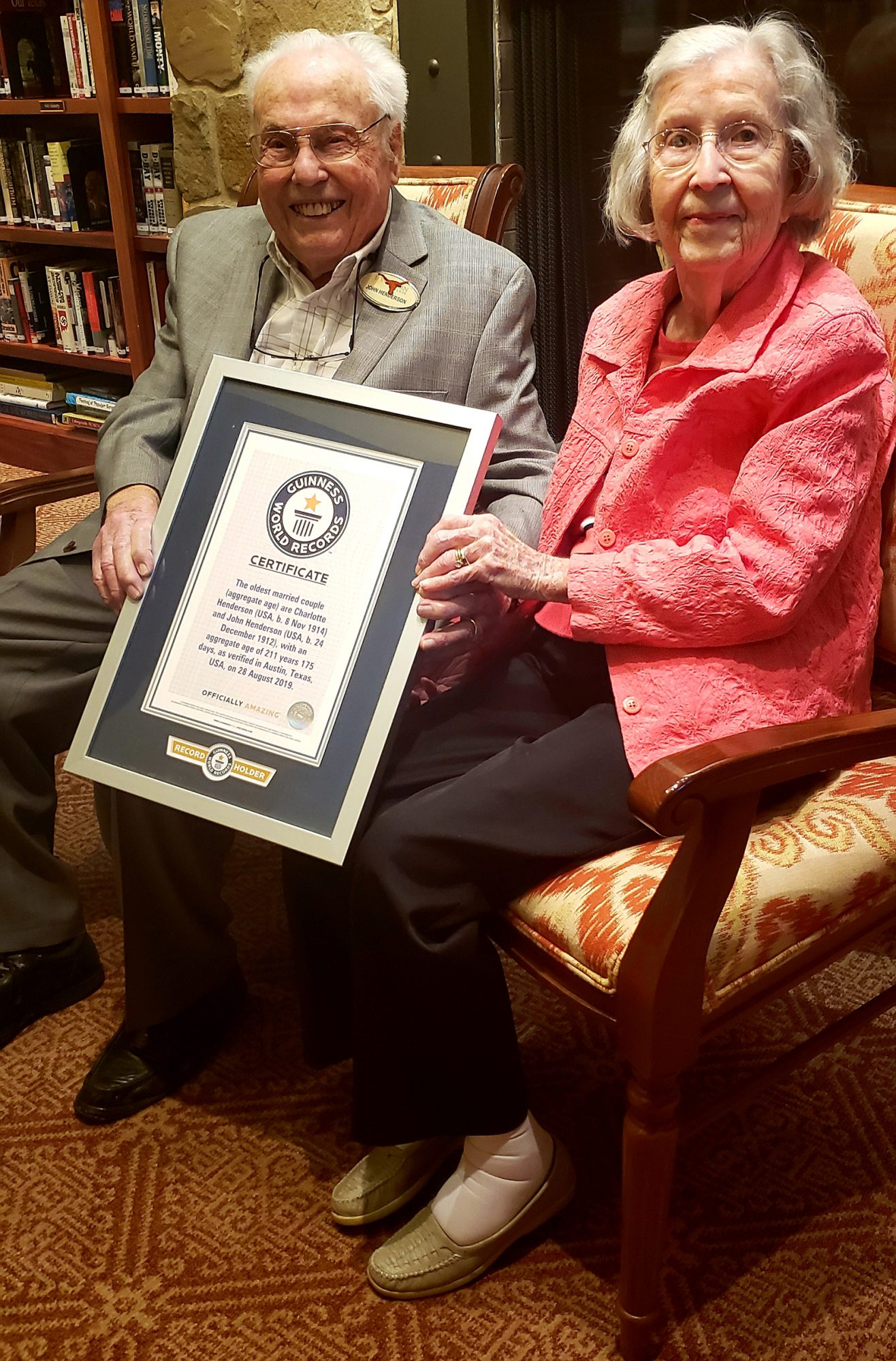 John & Charlotte Henderson set the record for the oldest living married couple.