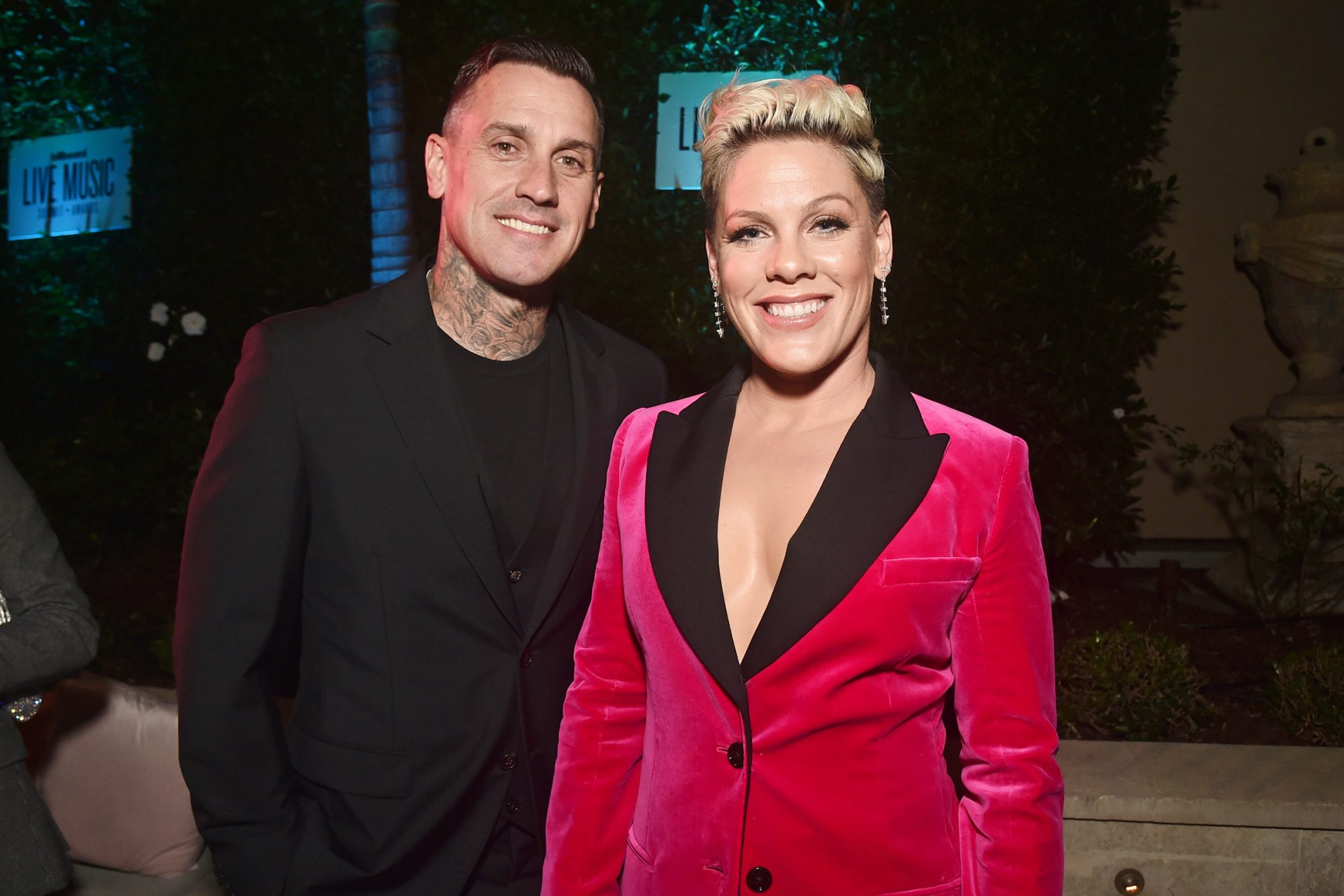 Carey Hart and Pink attend Billboard's 2019 LIve Music Summit and Awards Ceremony at the Montage Hotel on November 05, 2019 in Beverly Hills, California