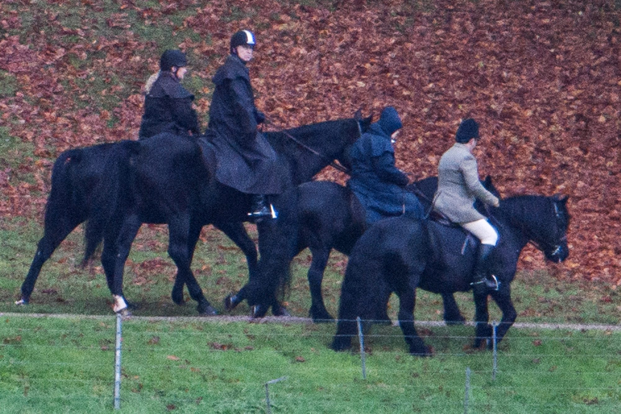 22/11/2019. Windsor, UK. Prince Andrew, The Duke of York (second left), is seen riding a horse with Queen Elizabeth II (second right) in the grounds of Windsor Castle estate. Prince Andrew is stepping down from official duties following a Newsnight interview on his relationship with Jeffrey Epstein.