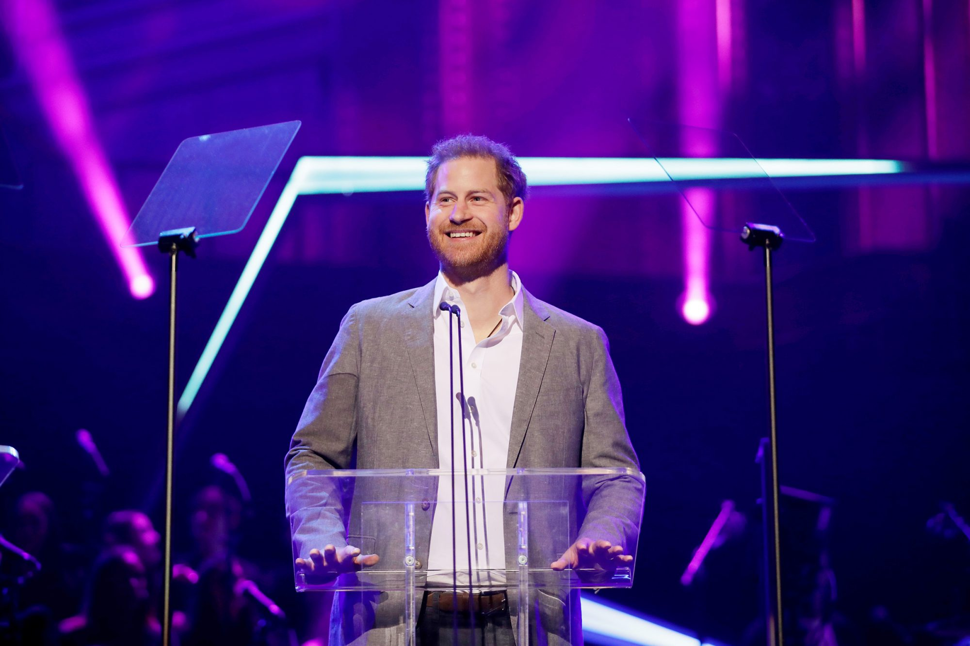 Prince Harry gives a speech on stage before announcing the winners of the Health and Wellbeing category at the inaugural OnSide Awards at the Royal Albert Hall in London, . OnSide is a charity whose purpose is to create state-of-the-art 21st century youth facilities called 'Youth Zones' that give young people safe and inspiring places to spend their leisure time Royals, London, United Kingdom - 17 Nov 2019