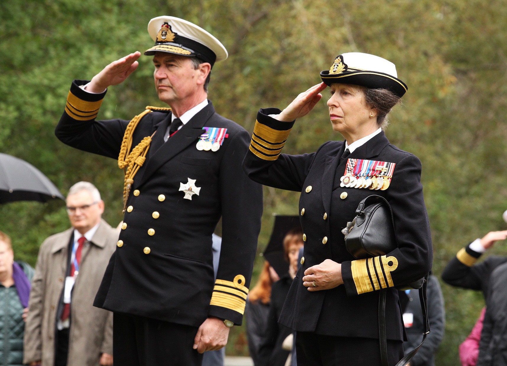 Anne (R), Princess Royal of Great Britain, and her husband, Vice Admiral Sir Timothy James Hamilton Laurence