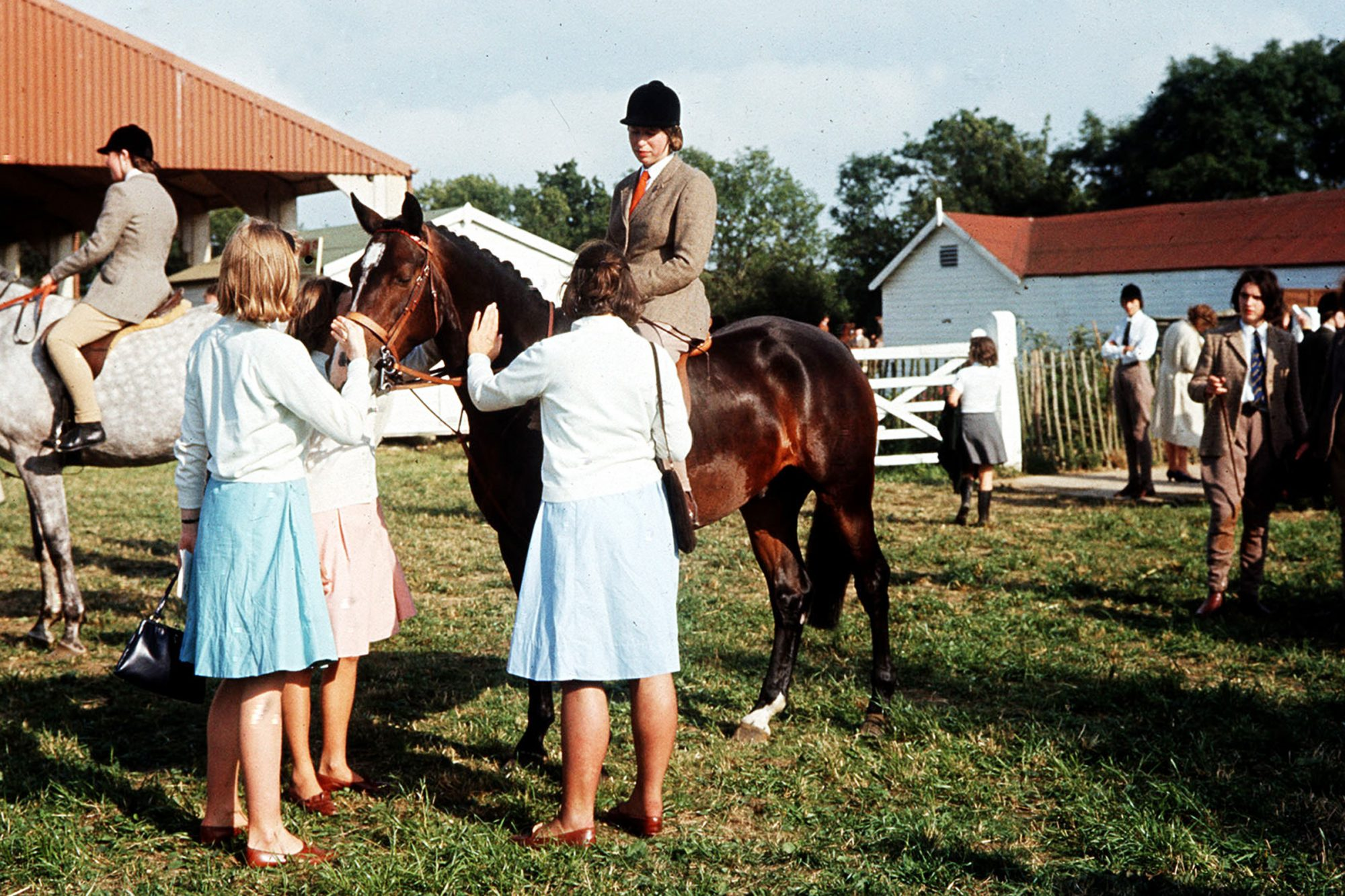 Princess Anne (later the Princess Royal),13, represents her school, Benenden, for the first time in a showjumping competition