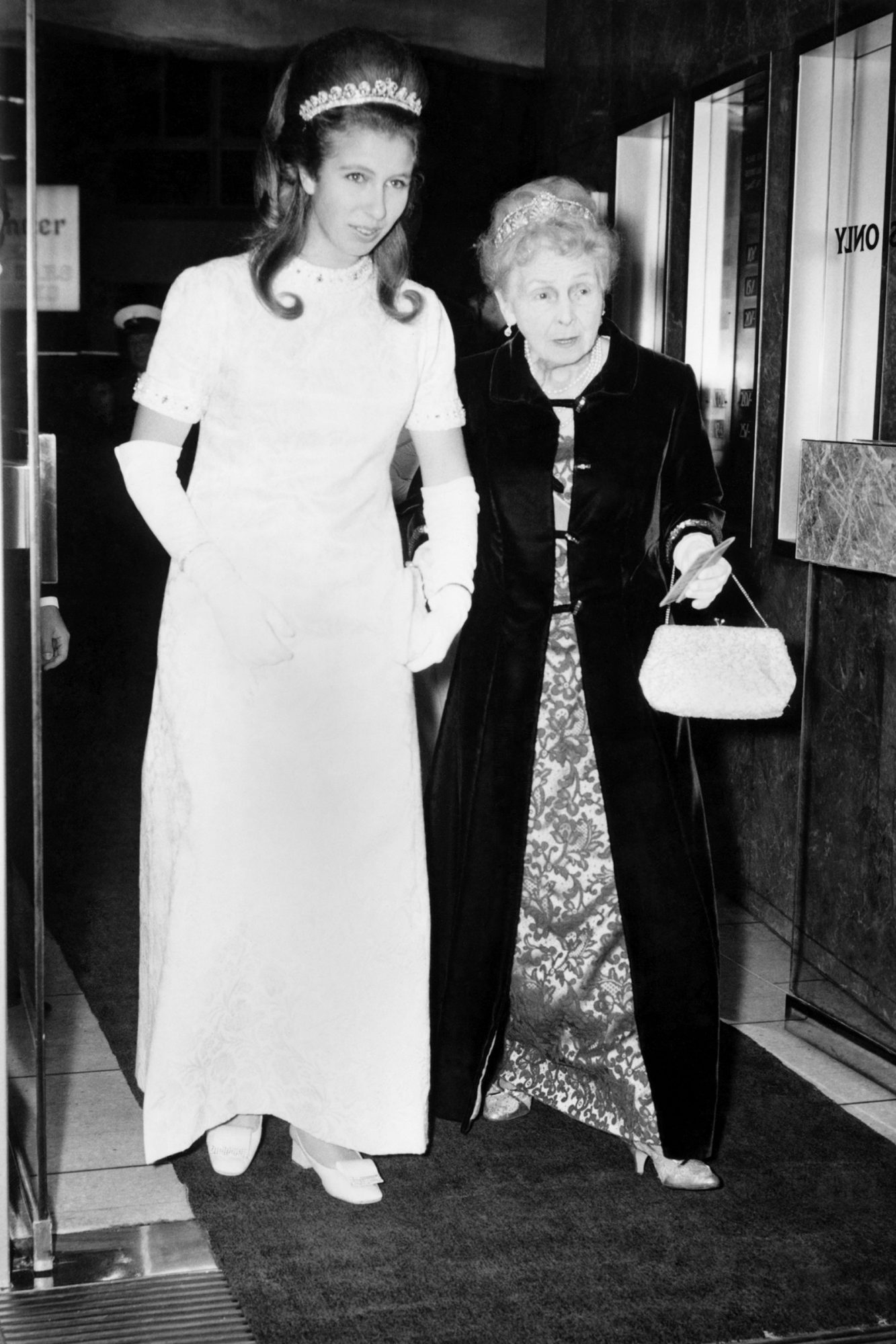 A Royal night at the cinema. (Left to right) Princess Anne and Princess Alice arriving at the Warner Theatre. November 1969