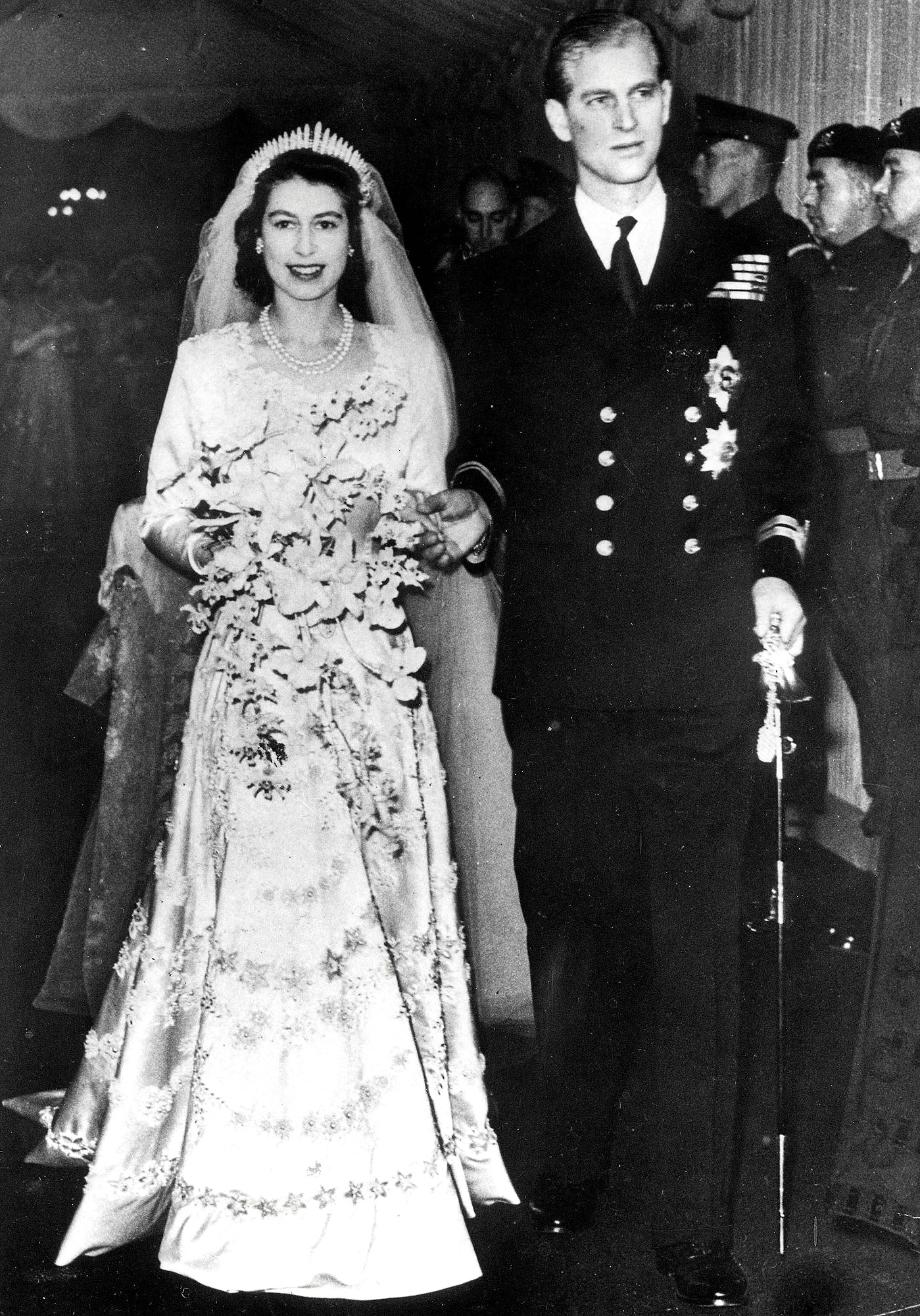 London, England. 20th November, 1947. Princess Elizabeth (later Queen Elizabeth II) and Philip Mountbatten pictured leaving Westminster Abbey after their wedding ceremony.