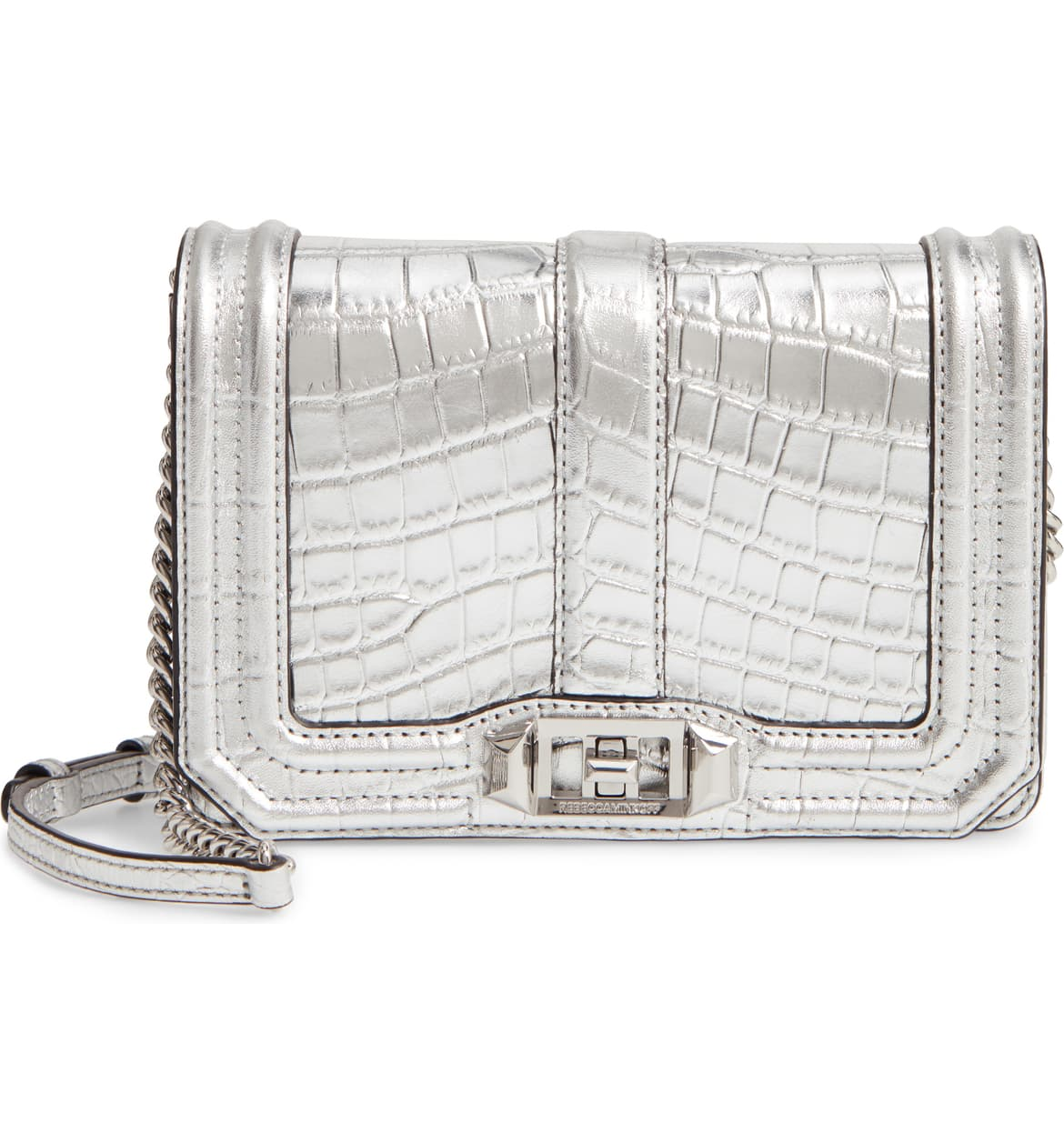 rebecca minkoff silver croc embossed metallic leather crossbody bag nordstrom