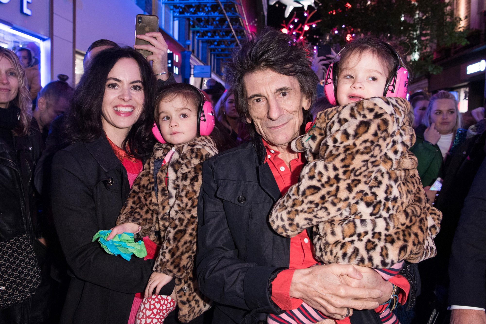 Sally Wood and Ronnie Wood with twin daughters Alice and Gracie