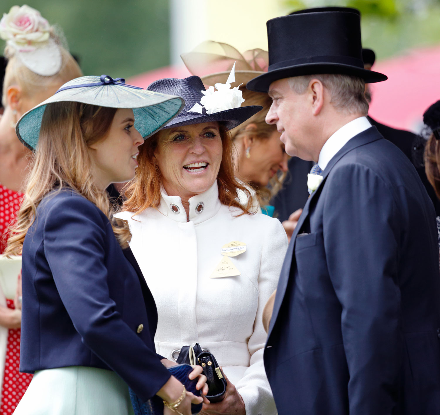 ASCOT, UNITED KINGDOM - JUNE 17: (EMBARGOED FOR PUBLICATION IN UK NEWSPAPERS UNTIL 48 HOURS AFTER CREATE DATE AND TIME) Princess Beatrice, Sarah Ferguson, Duchess of York and Prince Andrew, Duke of York attend day 4 of Royal Ascot at Ascot Racecourse on June 17, 2016 in Ascot, England. (Photo by Max Mumby/Indigo/Getty Images)
