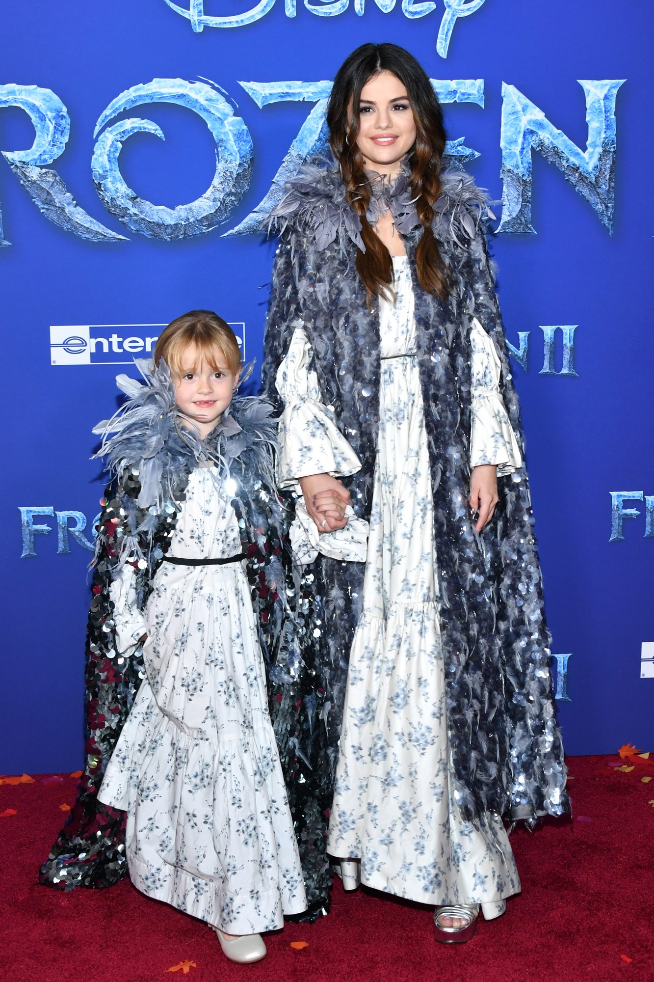 """Gracie Teefey and Selena Gomez attend the premiere of Disney's """"Frozen 2"""""""