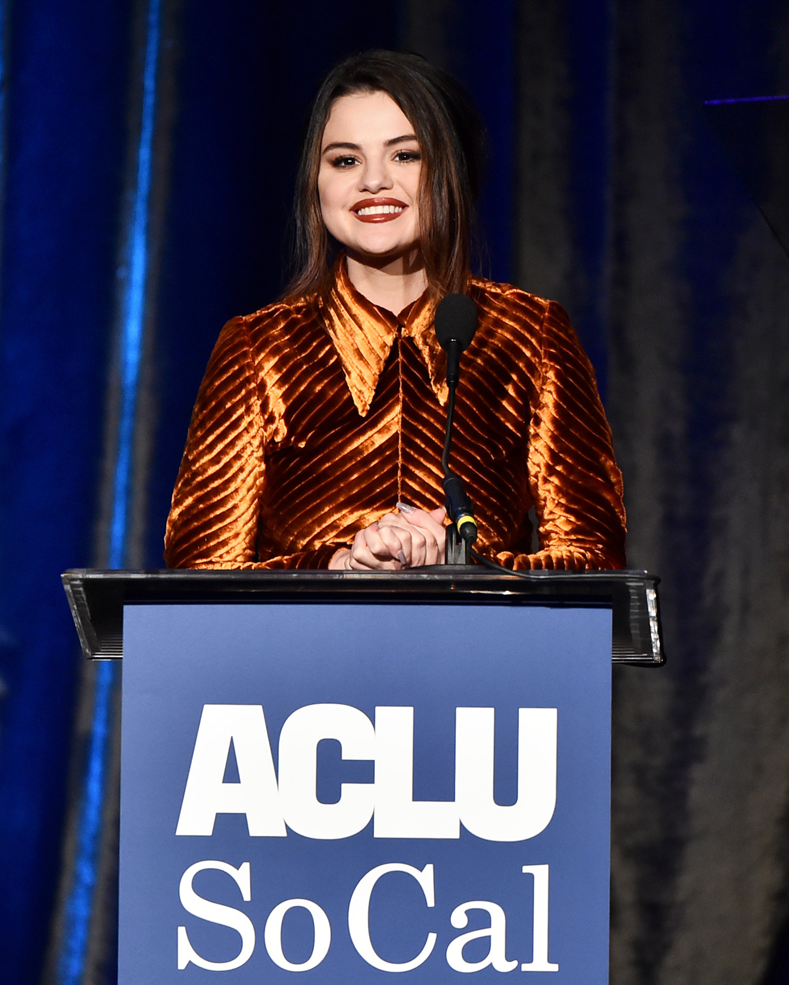 Selena Gomez speaks onstage during ACLU SoCal's Annual Bill of Rights dinner at the Beverly Wilshire Four Seasons Hotel on November 17, 2019 in Beverly Hills, California