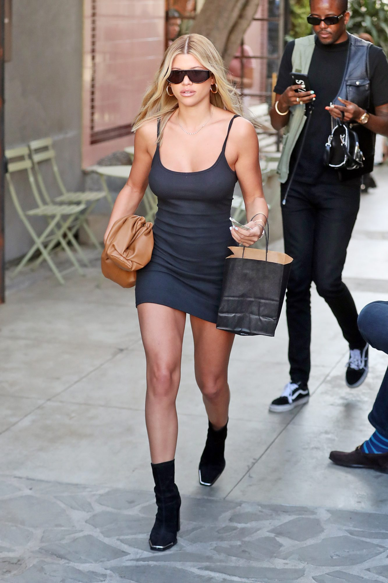 Sofia Richie looks stunning in black dress and black boots while leaving Nine Zero One Salon in Beverly Hills