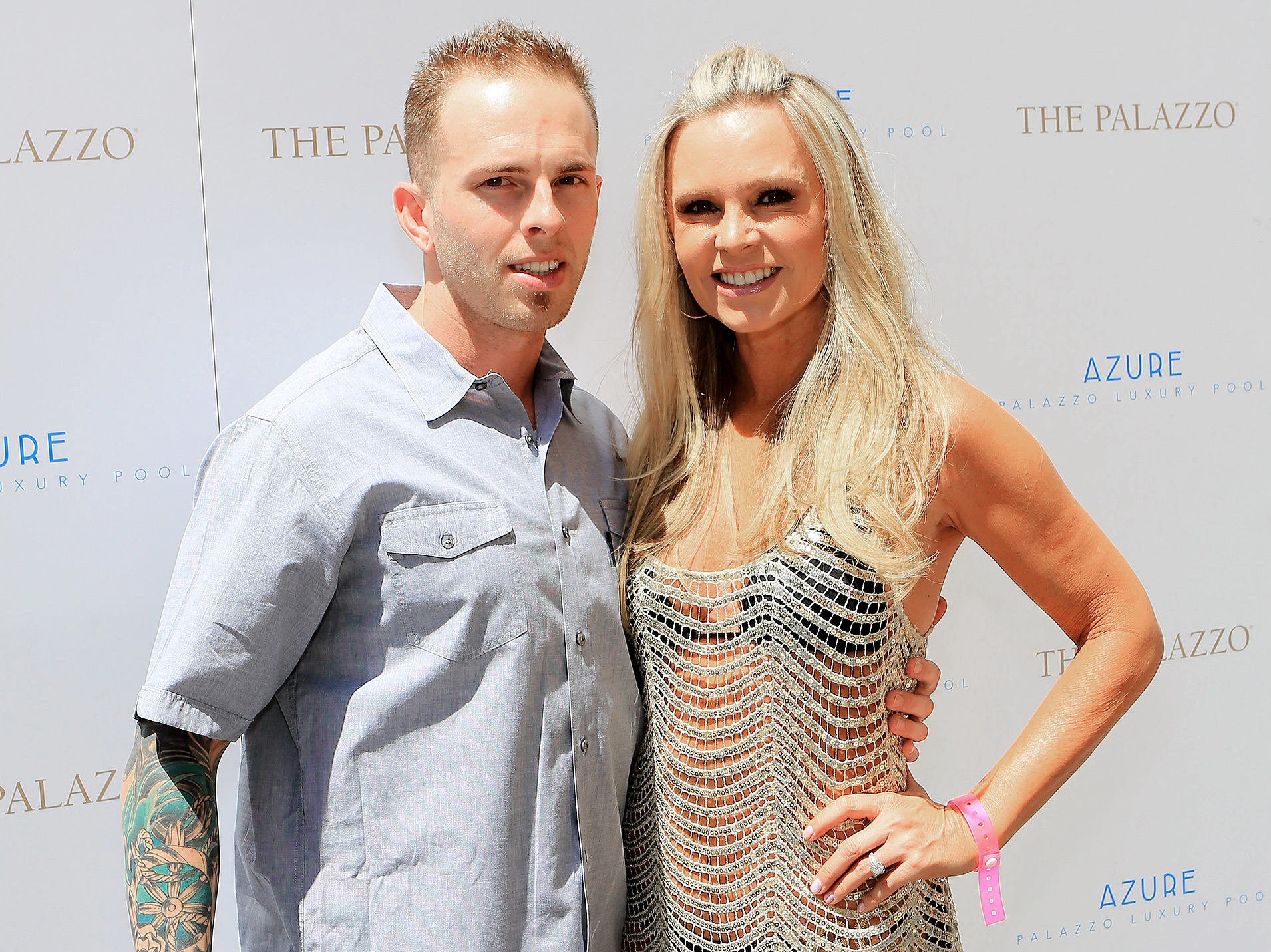 Tamra Barney (R) and son Ryan Vieth arrive at Tamra Barney's bachelorette party at the Azure pool at The Palazzo Las Vegas