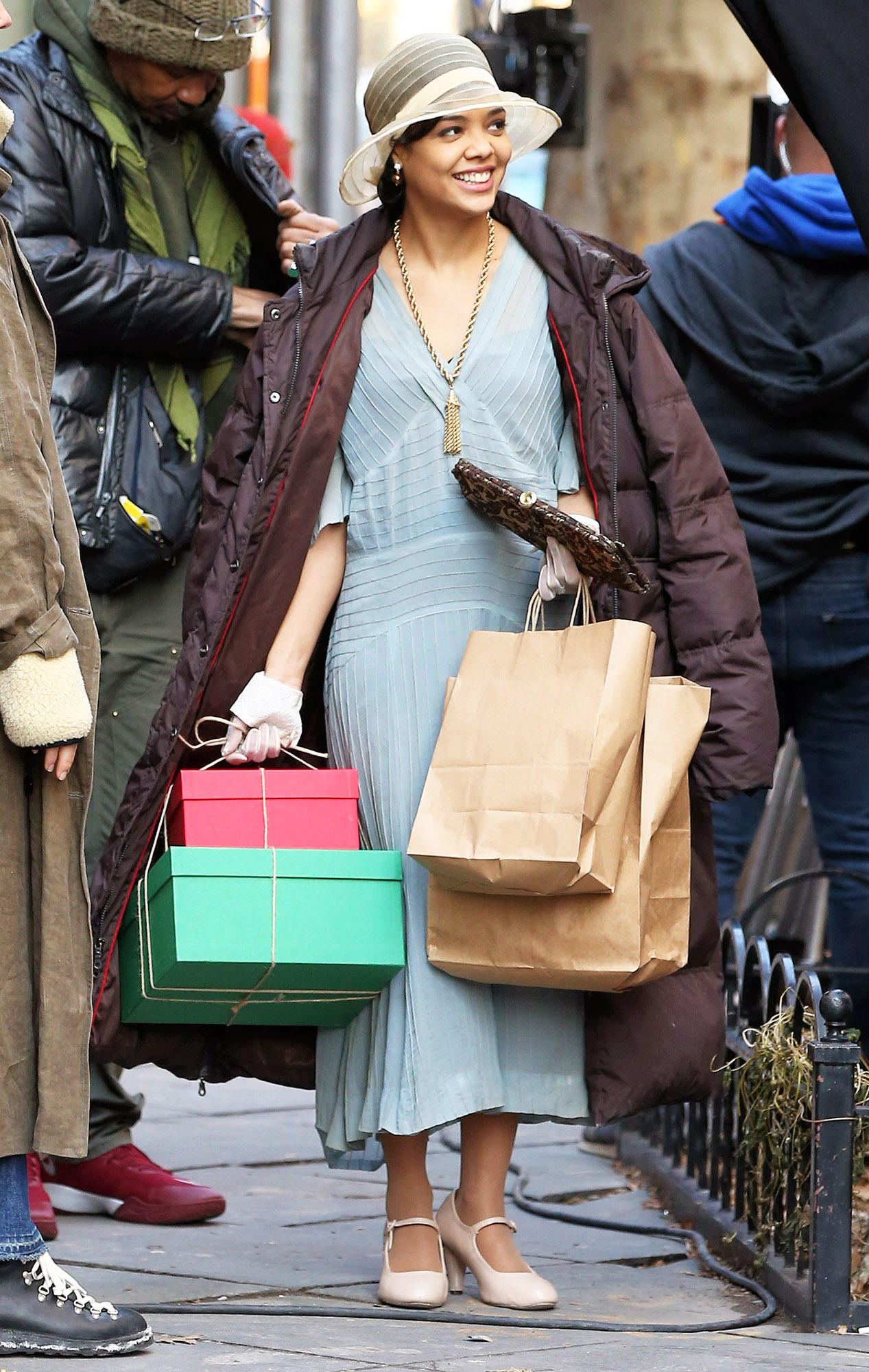 EXCLUSIVE: Actress Tessa Thompson Is Seen In 1920's Period Costume On The Set Of 'Passing' Filming In Brooklyn, New York