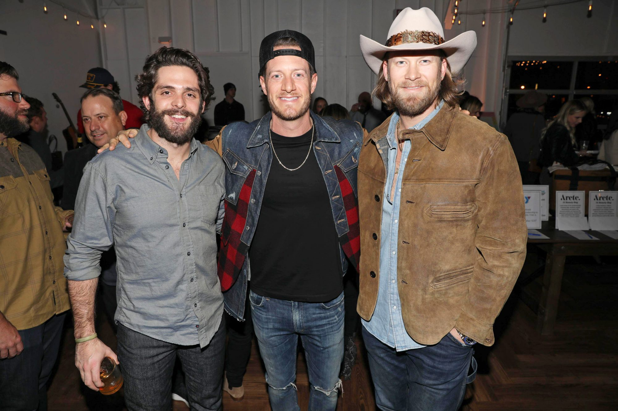 Nashville, TN. November 18, 2019. Thomas Rhett, Tyler Hubbard, Brian Kelley at Miracle on 4th fundraiser benefitting Home Street Home Ministries.