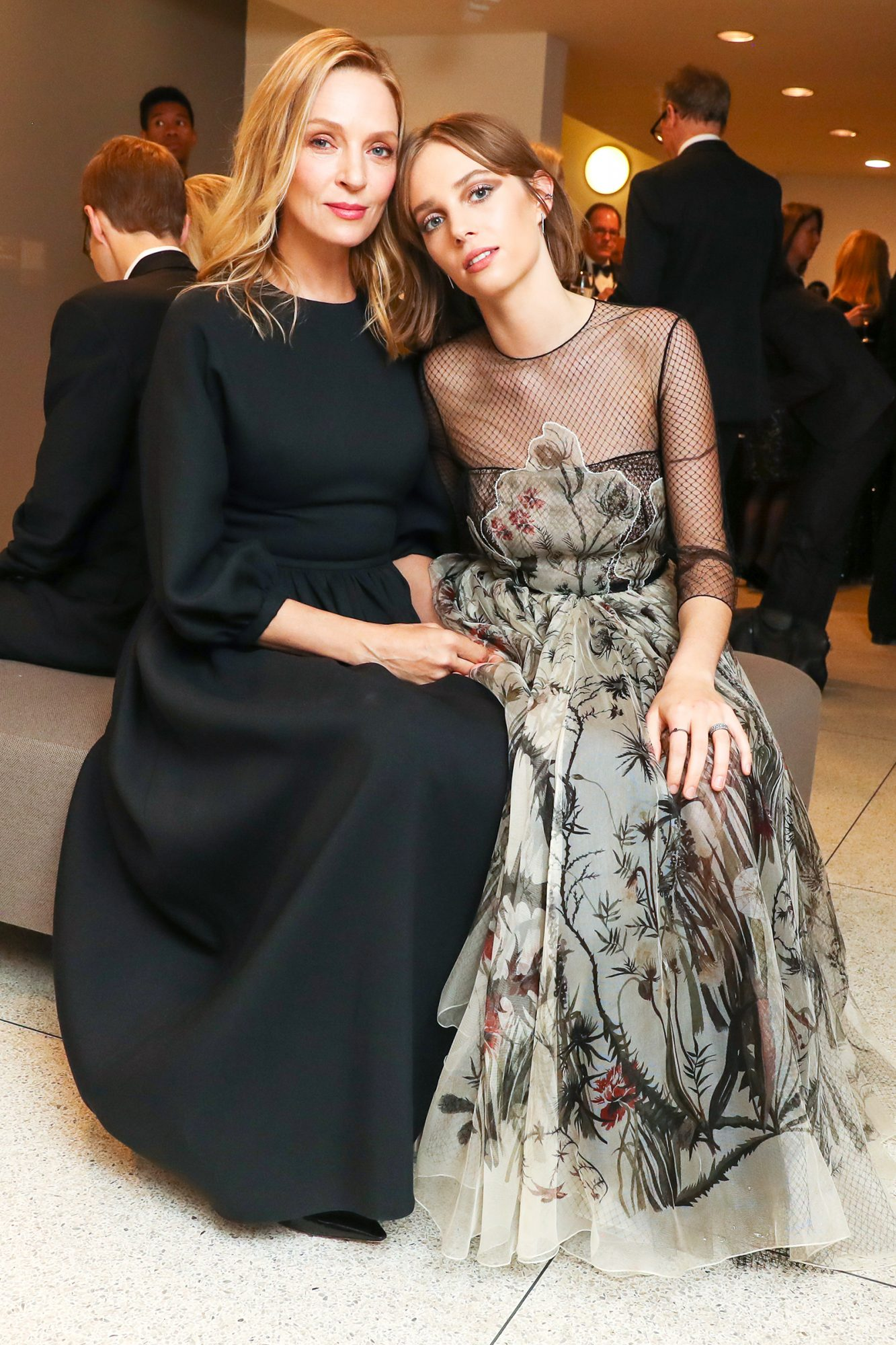 Uma Thurman and Maya Hawke attend the 2019 GUGGENHEIM INTERNATIONAL GALA: MADE POSSIBLE BY DIOR at the Solomon R. Guggenheim Museum, NY on November 14, 2019