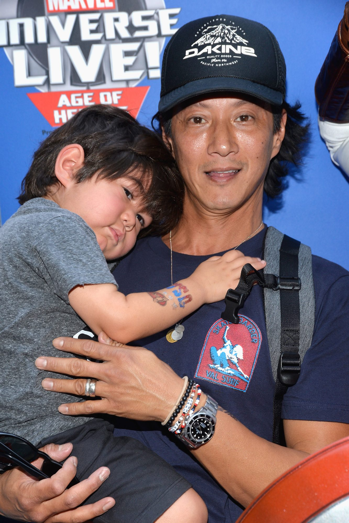 Will Yun Lee and son Cash Yun Lee attend the world premiere of Marvel Universe Live! Age Of Heroes at Staples Center on July 8, 2017 in Los Angeles, California