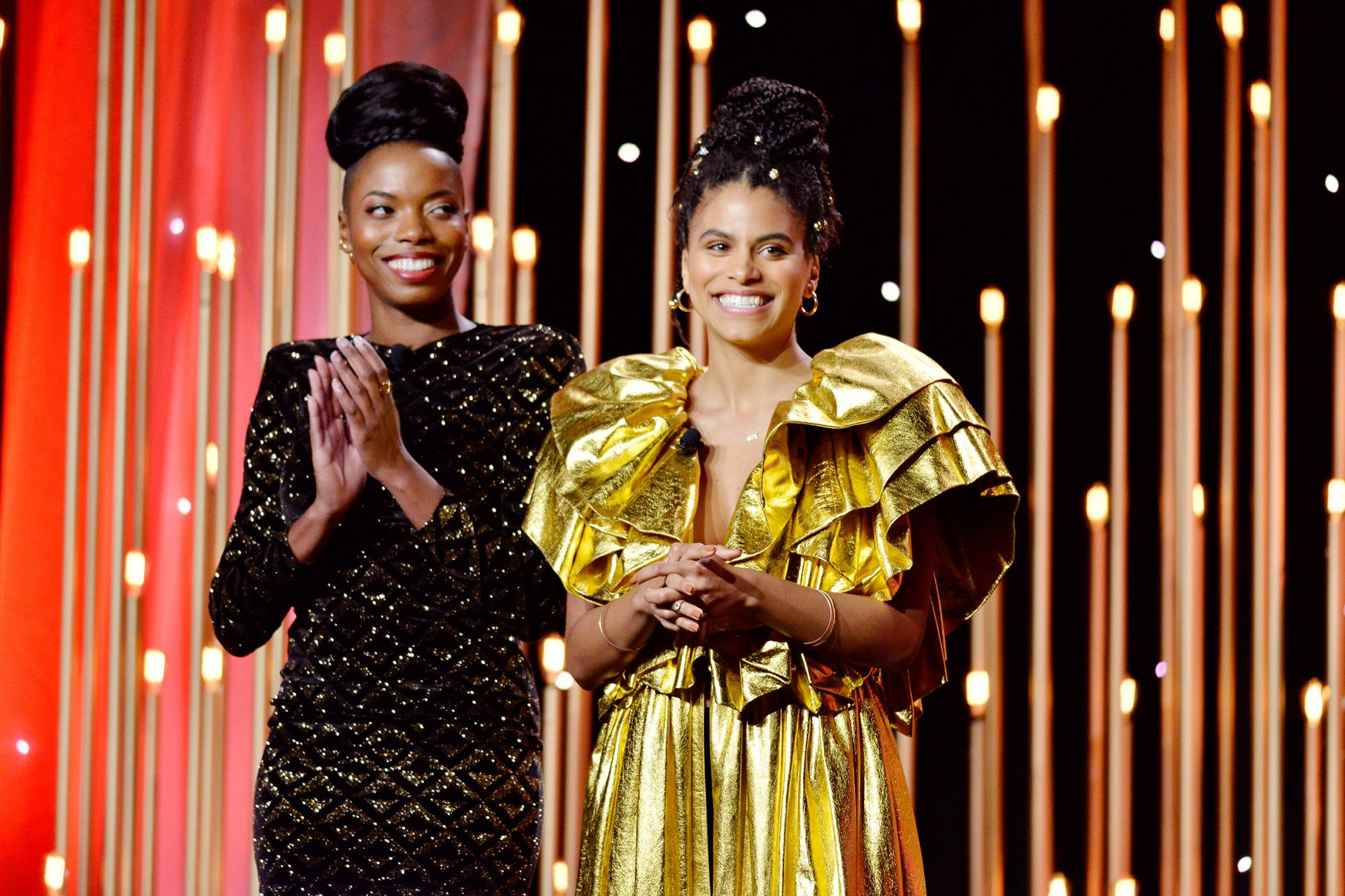 Sasheer Zamata (L) and Zazie Beetz speak onstage during The Trevor Project's TrevorLIVE LA 2019 at The Beverly Hilton Hotel on November 17, 2019 in Beverly Hills, California