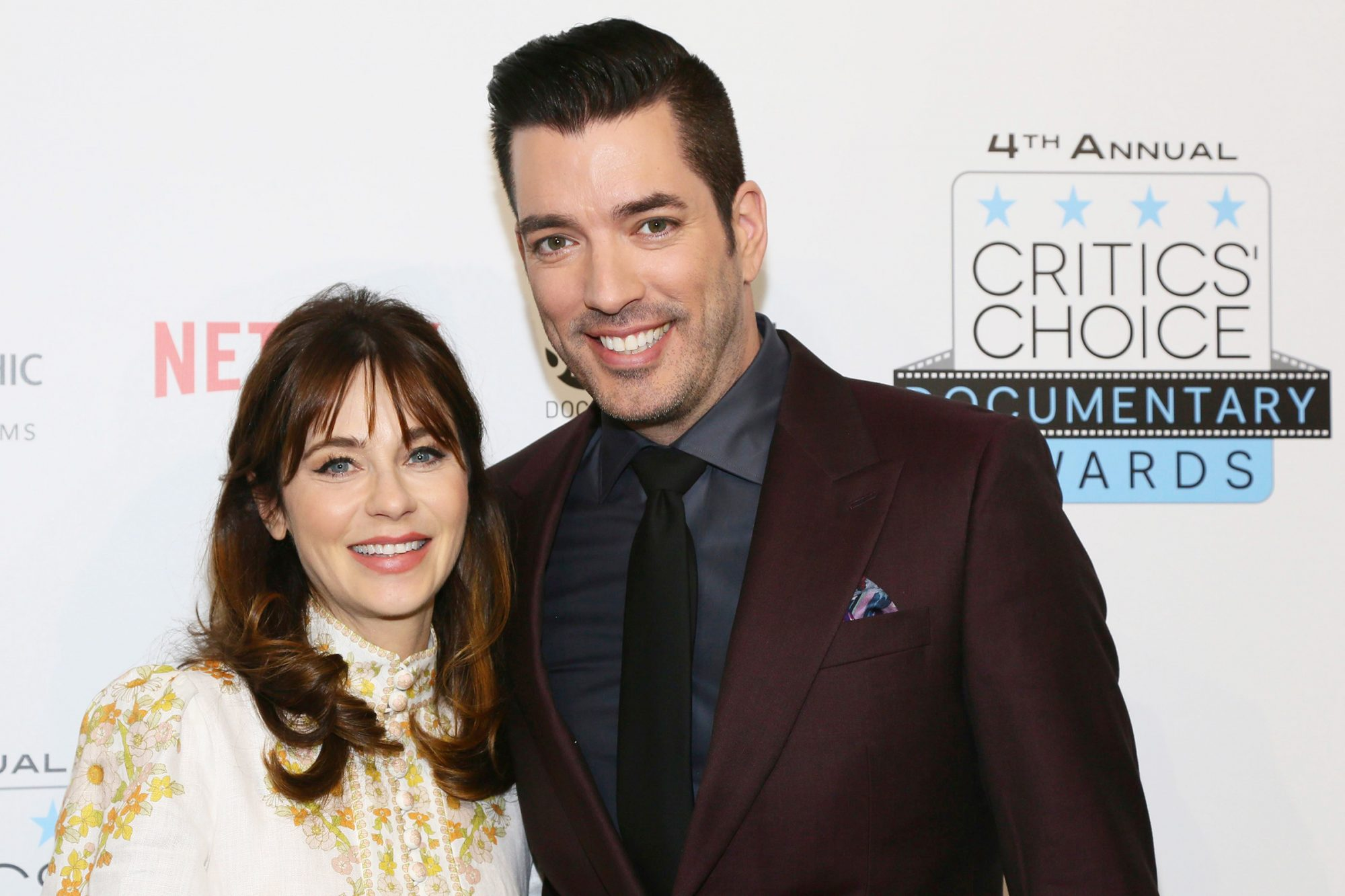 Jonathan Scott is pictured during arrivals with his girlfriend, actress Zooey Deschanel at the Fourth Annual Critics' Choice Documentary Awards in New York, N.Y Fourth Annual Critics' Choice Documentary Awards, Brooklyn, USA - 10 Nov 2019