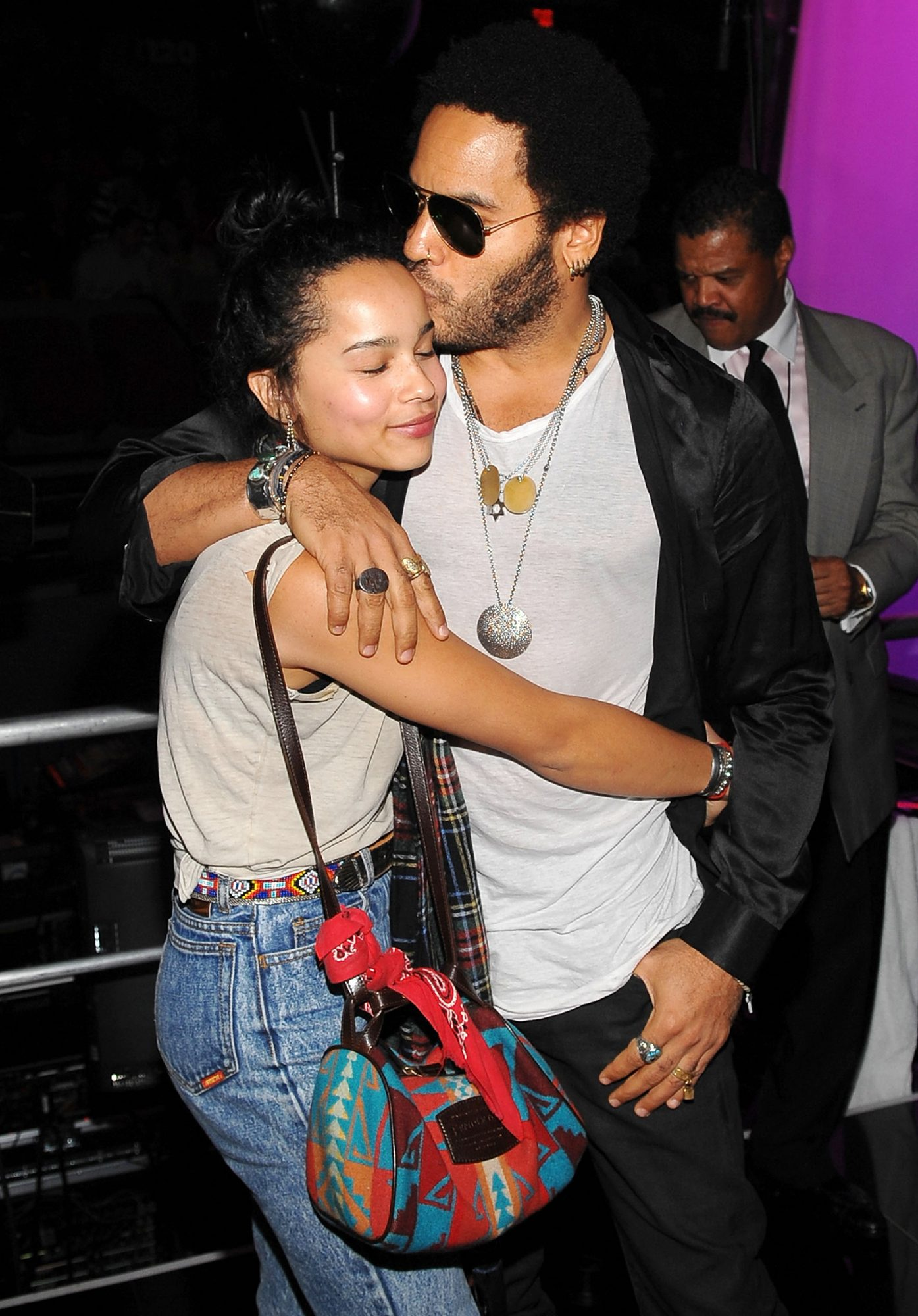 Zoe Kravitz and Lenny Kravitz attend the 25th Anniversary Rock & Roll Hall of Fame Concert at Madison Square Garden on October 30, 2009 in New York City