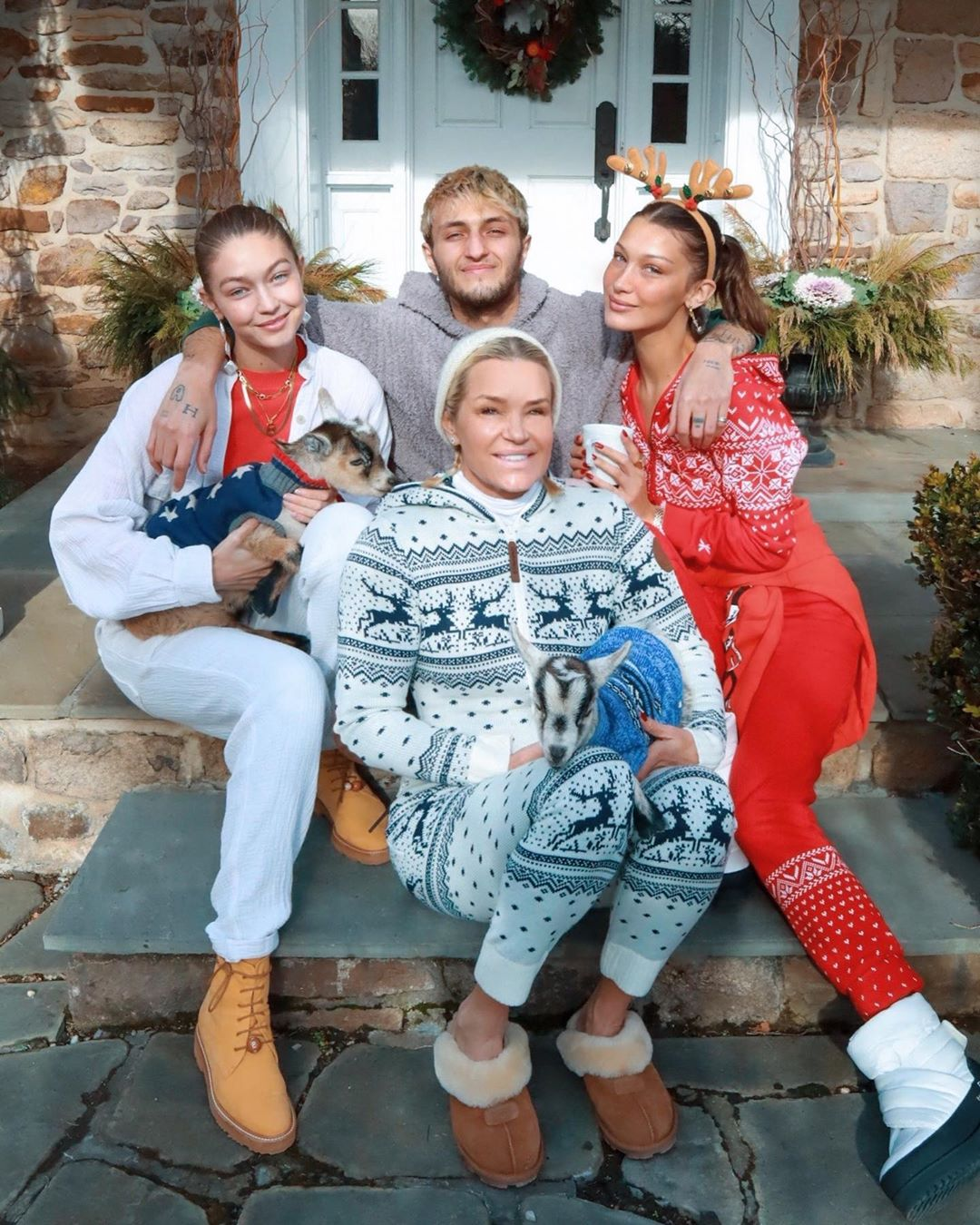 Bella Hadid and family on christmas