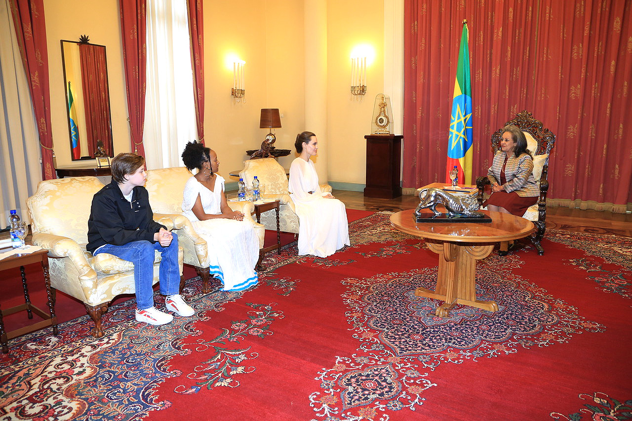Angelina Jolie, Zahara and Shiloh in a meeting with The President of the Federal Democratic Republic of Ethiopia, H.E. Sahle-Work Zewde.