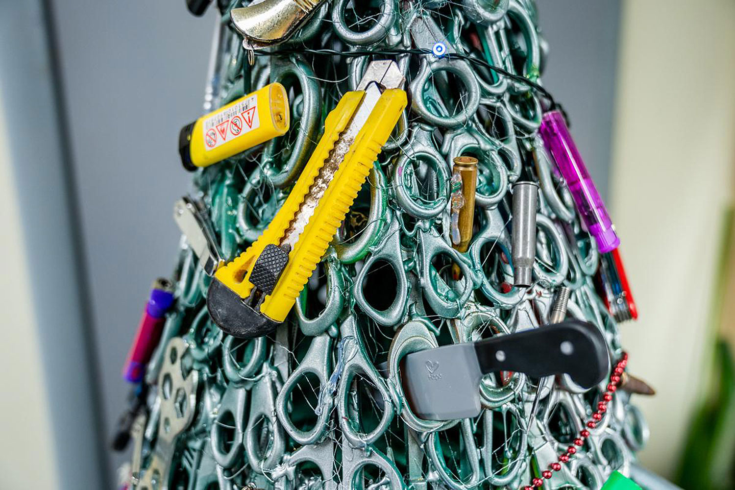 Airport Christmas Tree Made of Confiscated Items