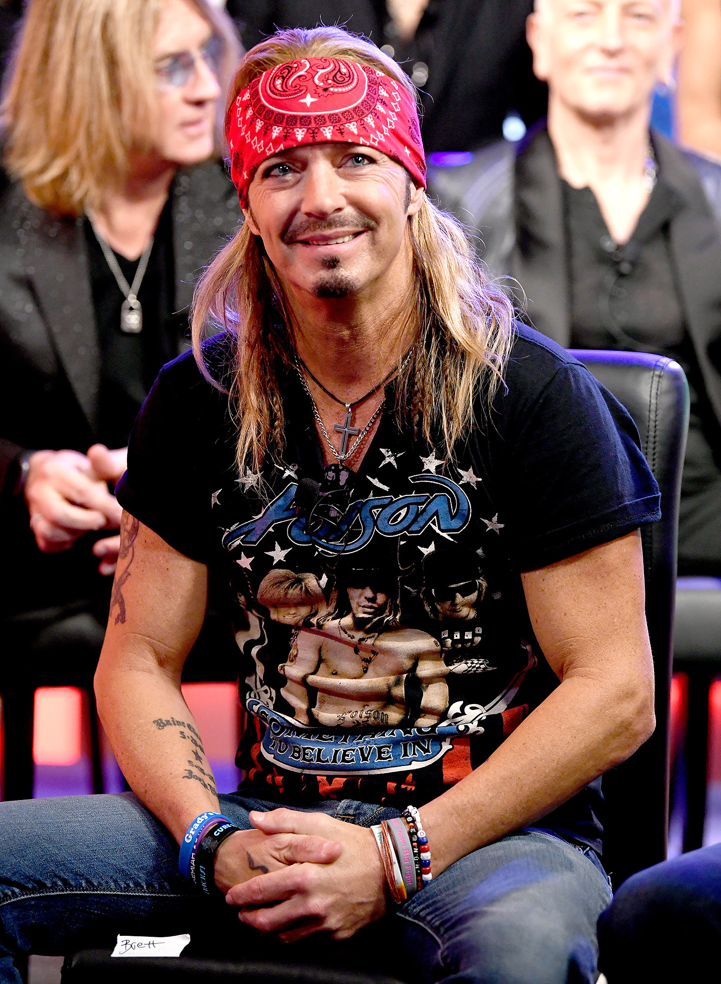 Bret Michaels appears onstage at a press conference with Mötley Crüe, Def Leppard and Poison announcing their 2020 Stadium Tour