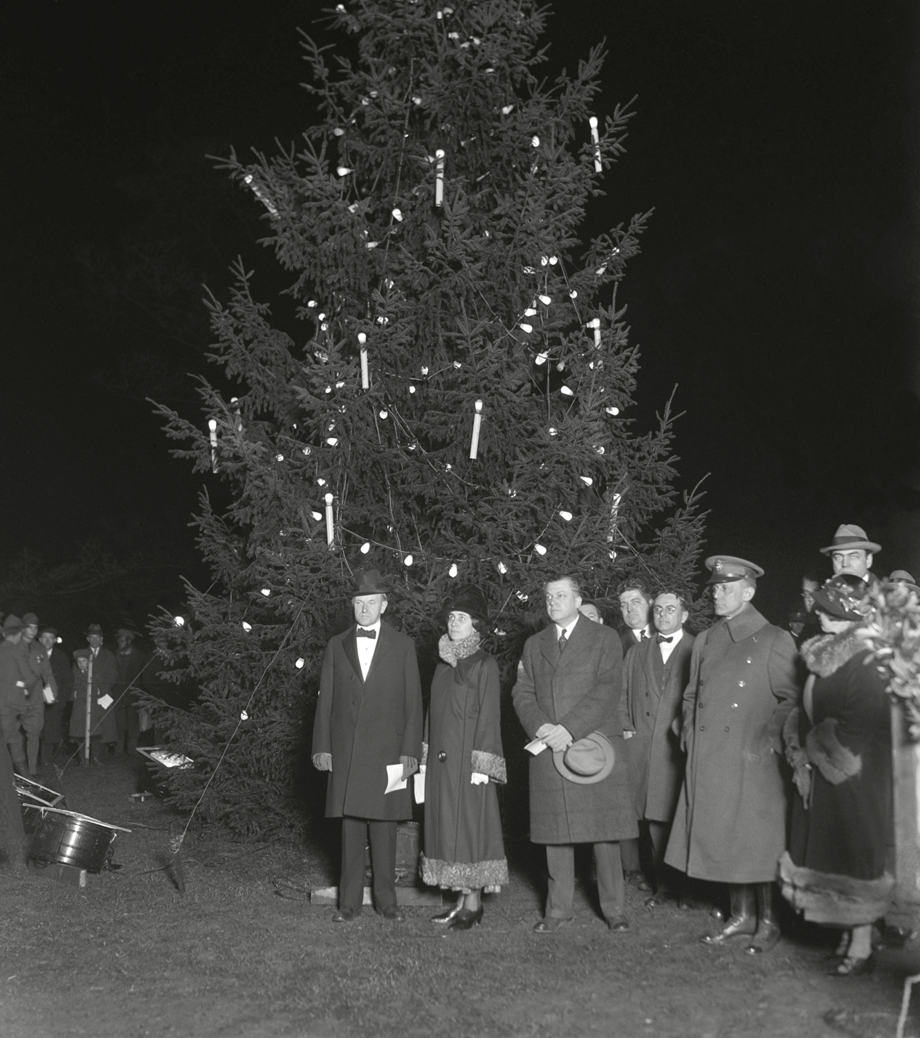 President Calvin Coolidge and First Lady Grace at the lighting of the National Christmas Tree