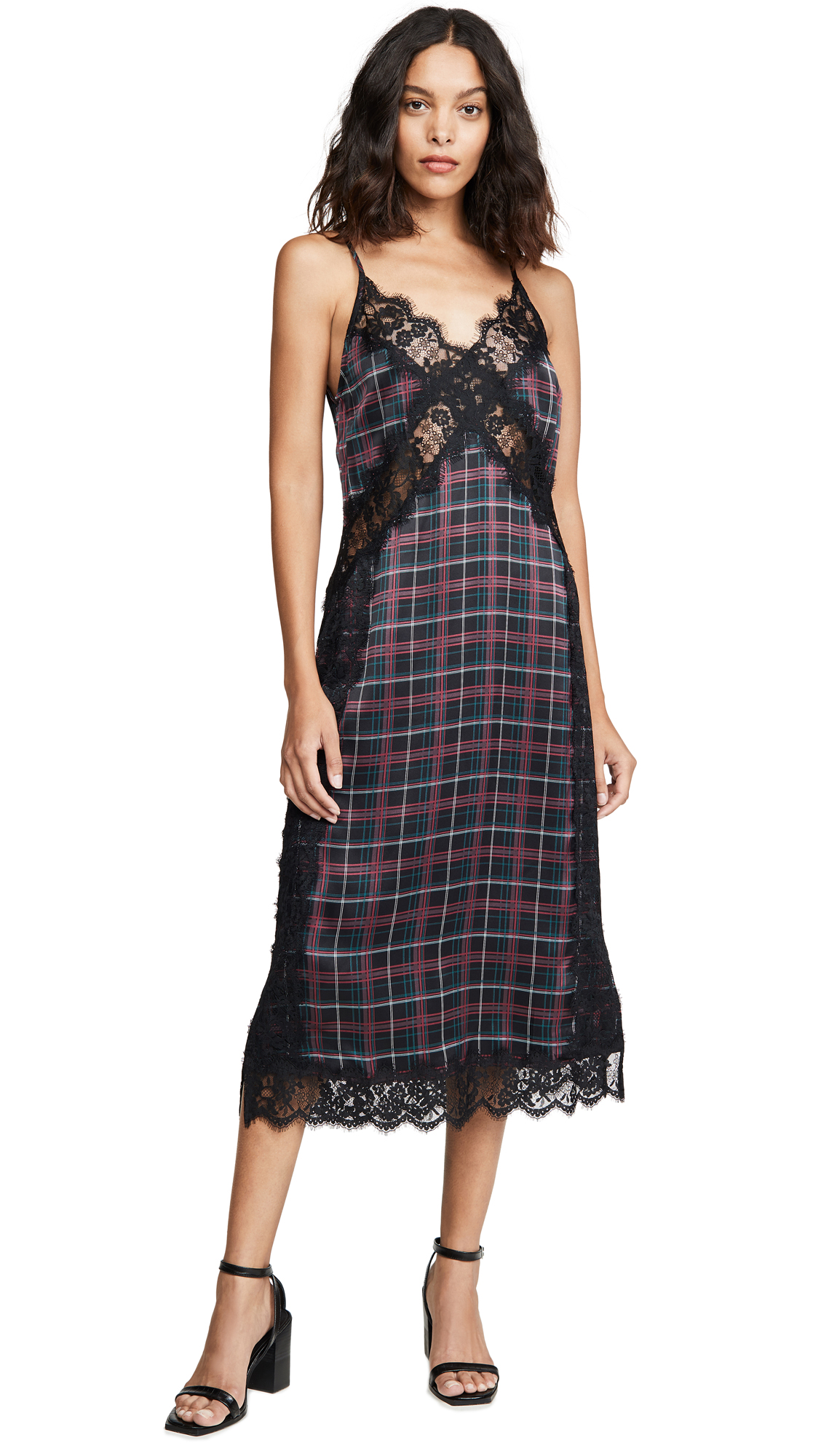 cami nyc purple and green plaid printed slip dress with black lace insert shopbop