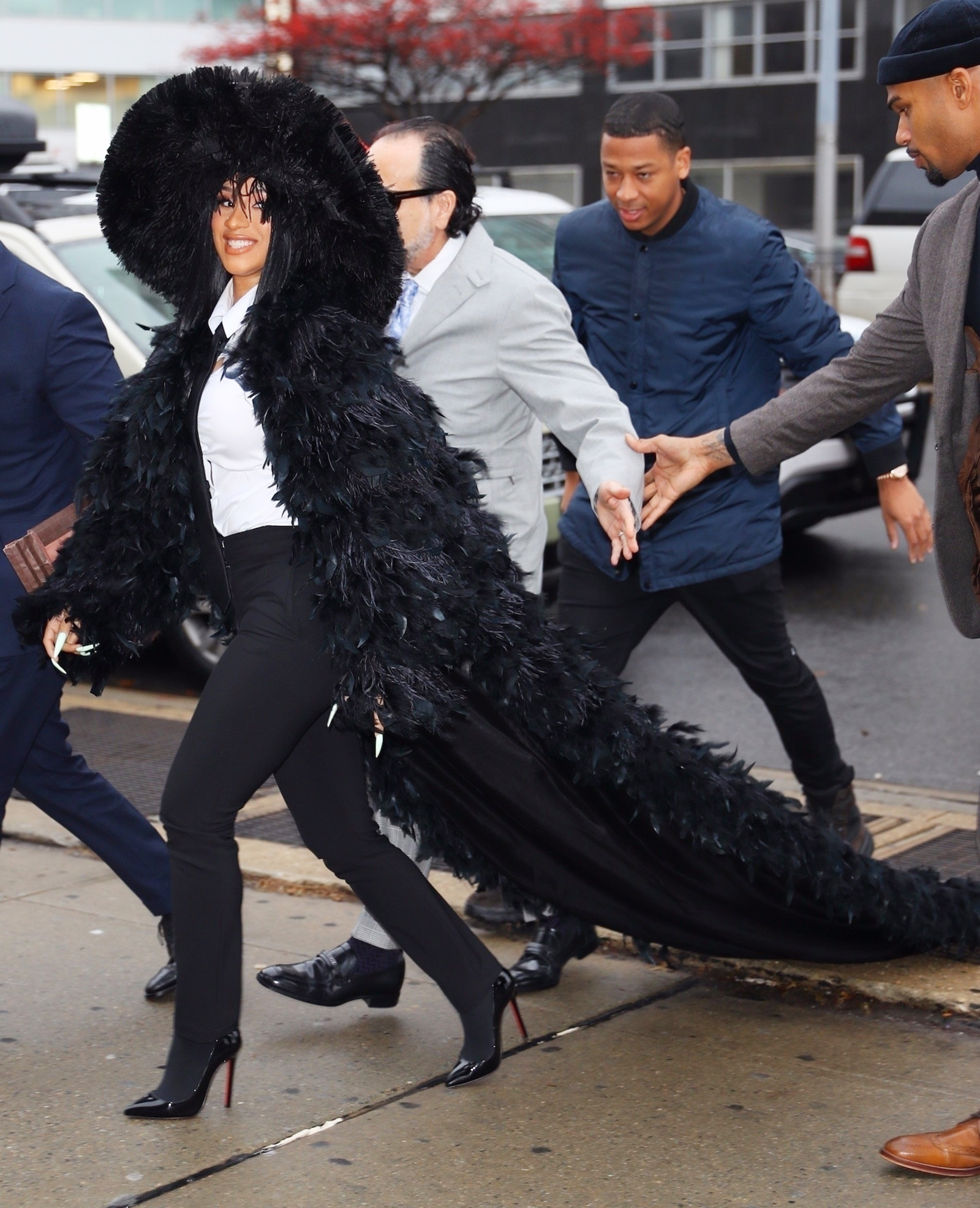 Cardi B makes an extreme fashion statement as she arrived for court in Queens this morning.