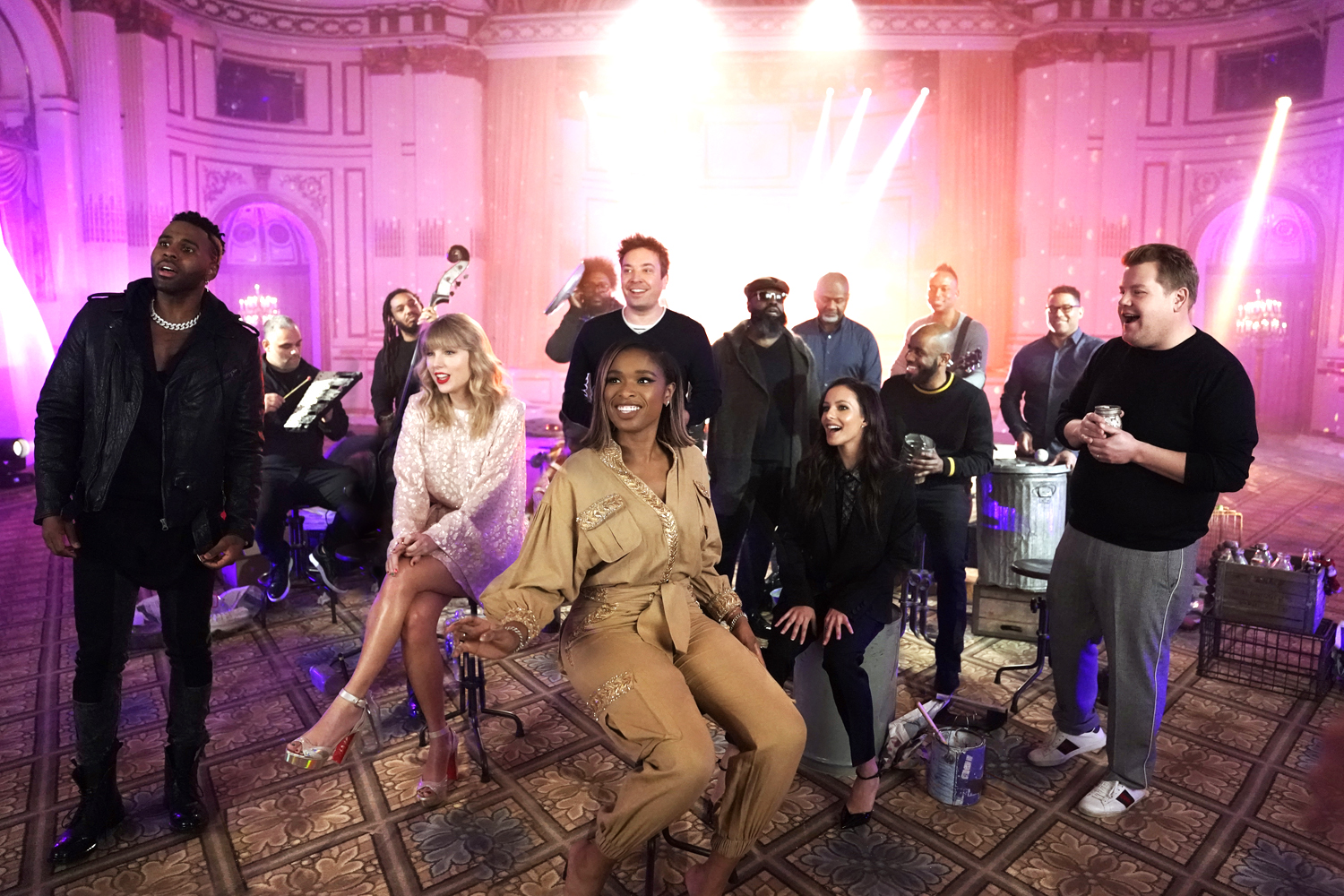 "Jason Derulo, Taylor Swift, Jennifer Hudson, Host Jimmy Fallon, Francesca Hayward, and James Corden during ""Cats 'Memory' Remix"""