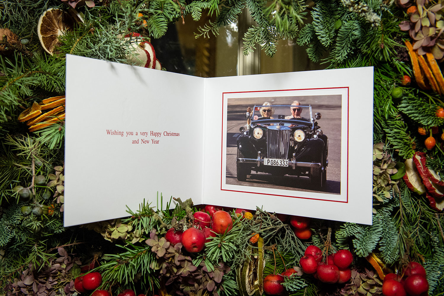 2019 Christmas card of Prince Charles, Prince of Wales and Camilla, Duchess of Cornwall on a Christmas tree at Clarence House on December 20, 2019 in London, England