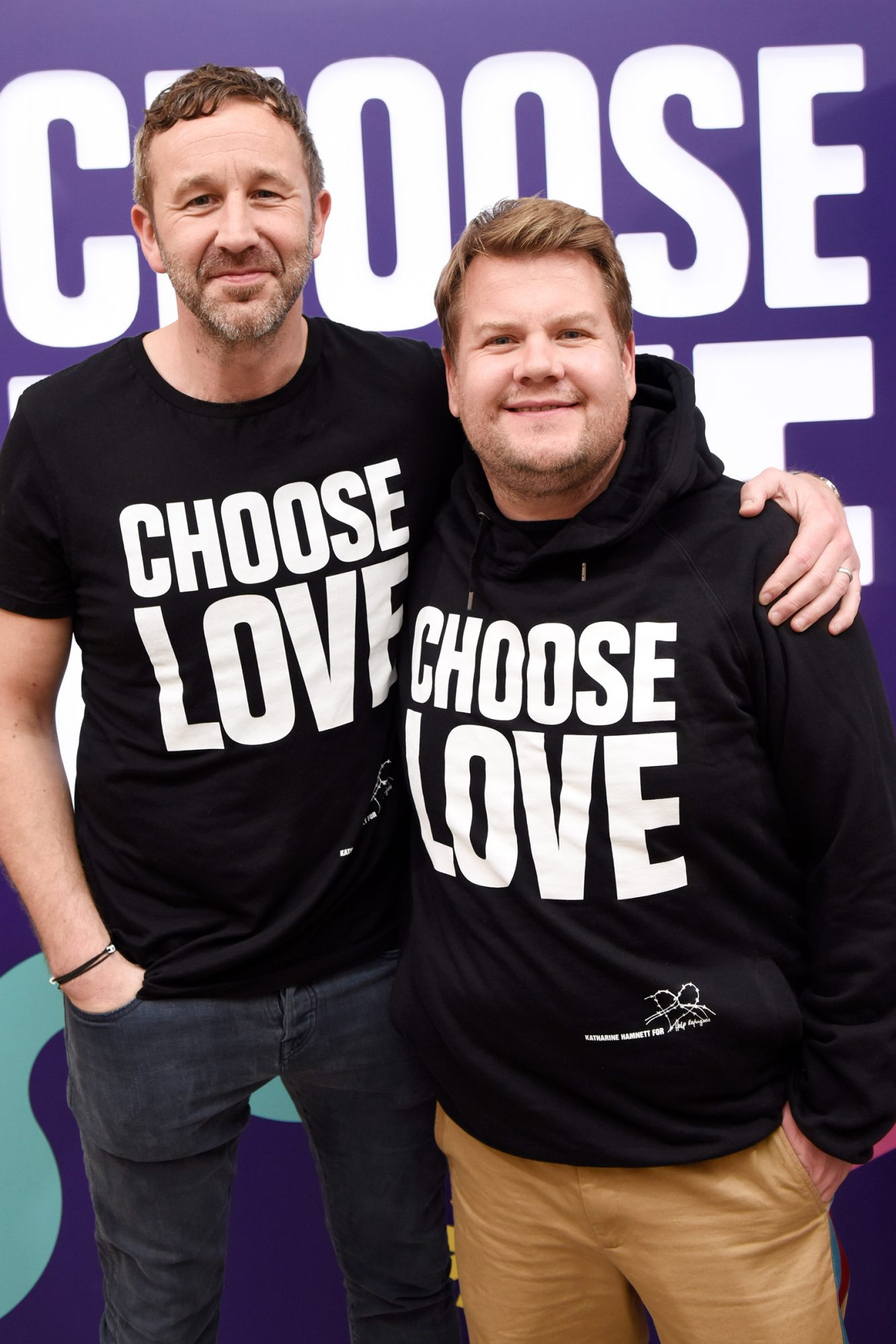 Chris O'Dowd and James Corden attend Choose Love Launches in Los Angeles on Giving Tuesday on December 3, 2019 in Los Angeles, California
