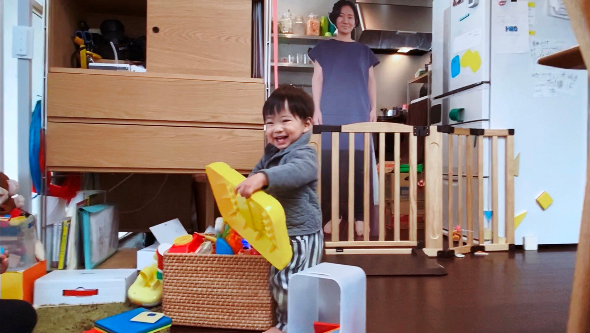 Mom's Massive Cutout of Herself Stops Toddler from Crying When She Leaves the Room