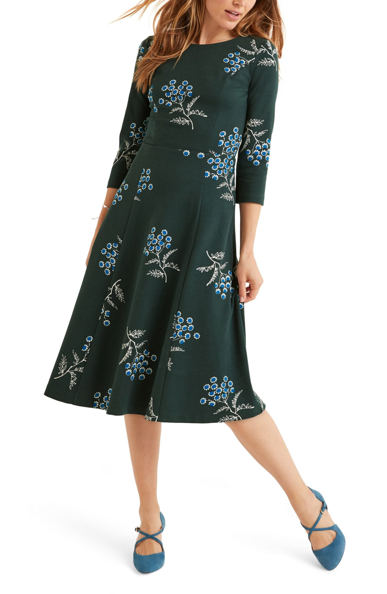 boden green ponte midi dress with blue floral print nordstrom