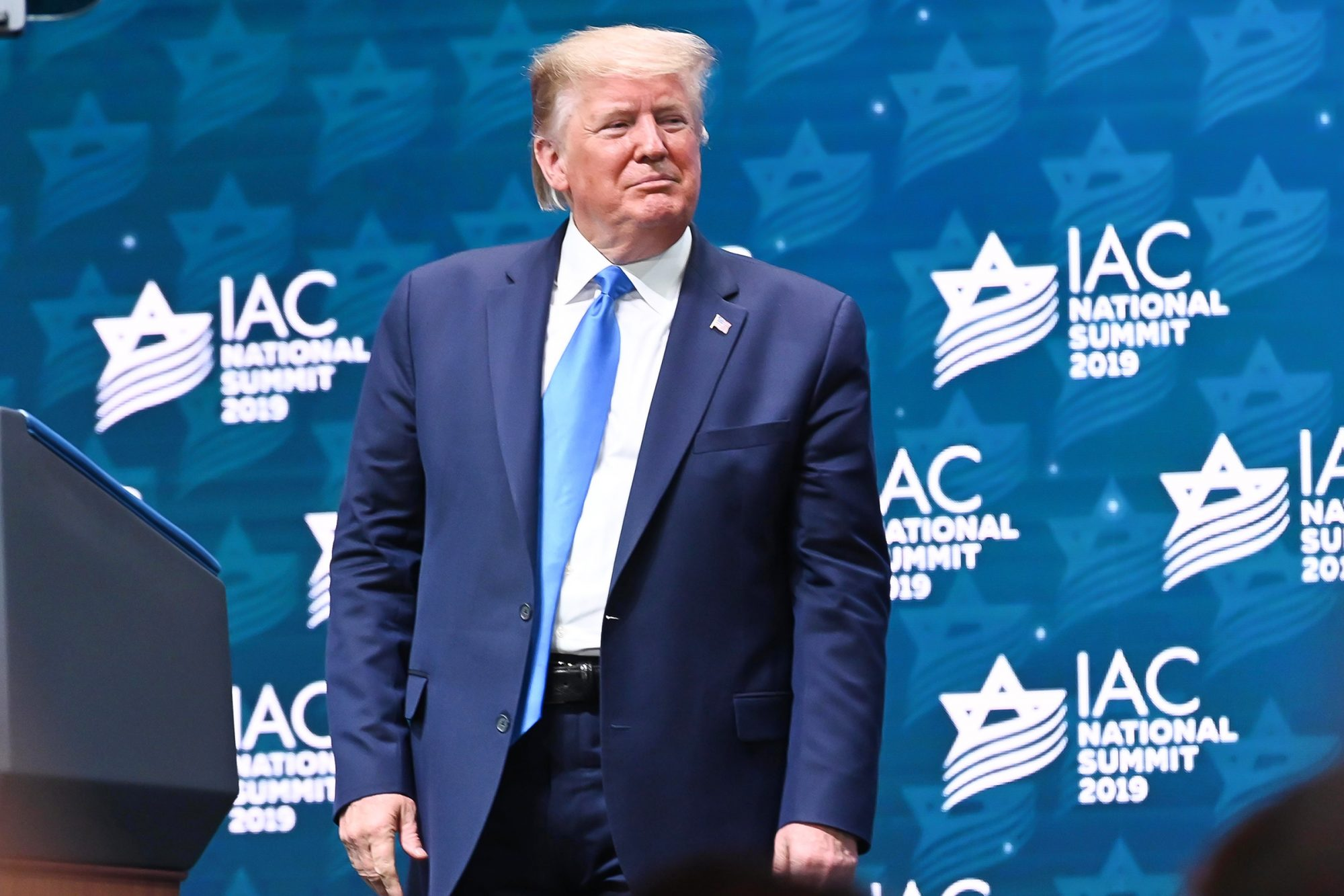 President Donald Trump speaks at the Israeli American Council National Summit on December 07, 2019 in Hollywood, Florida
