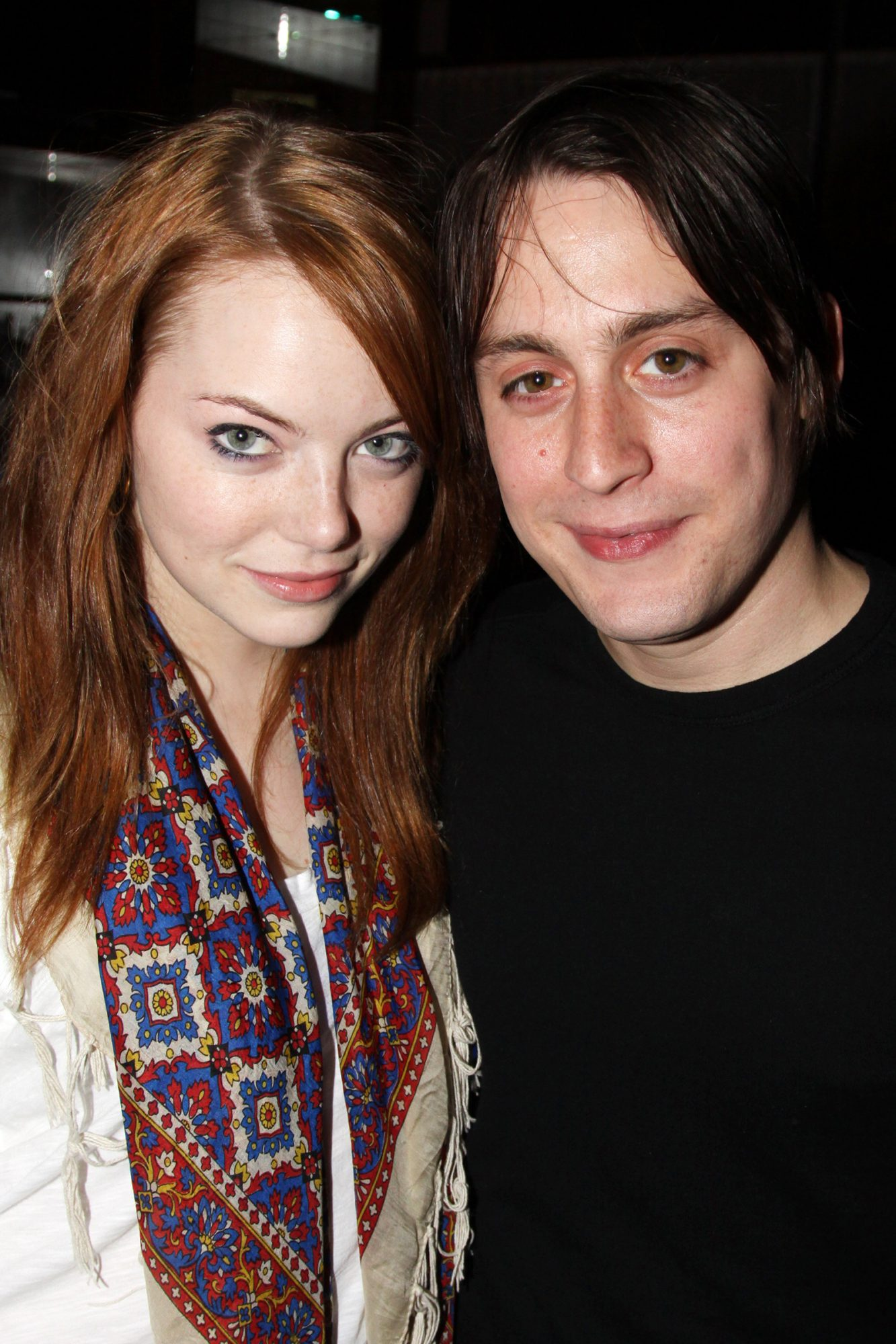 """Emma Stone and boyfriend Kieran Culkin attend the """"The Starry Messenger"""" cast party at Montenapo Restaurant on November 16, 2009 in New York City"""