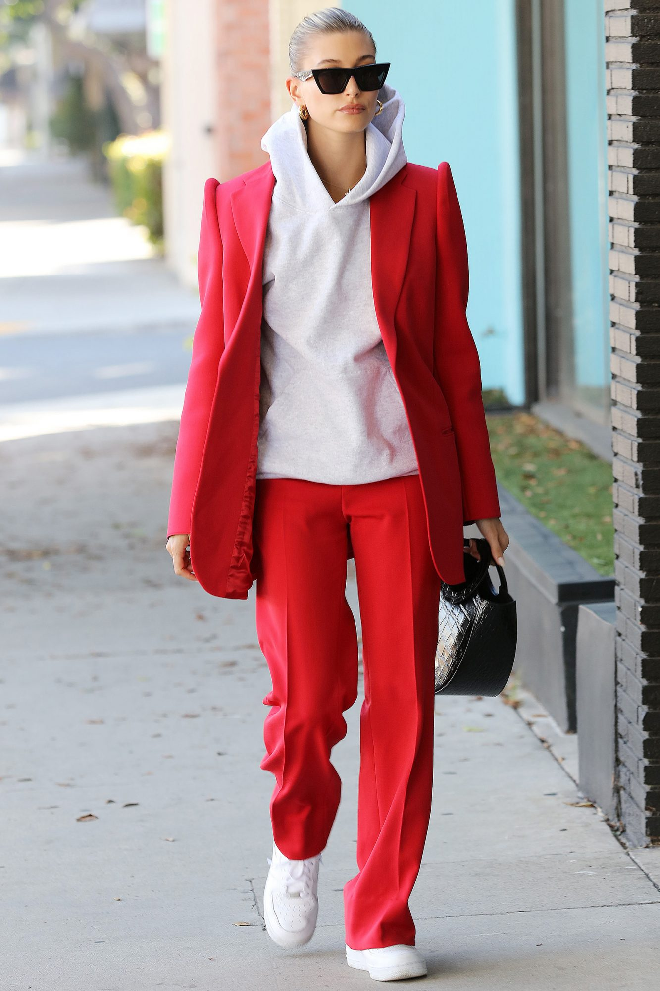Hailey Rhode Bieber walks in stunning red and white outfit in Los Angeles