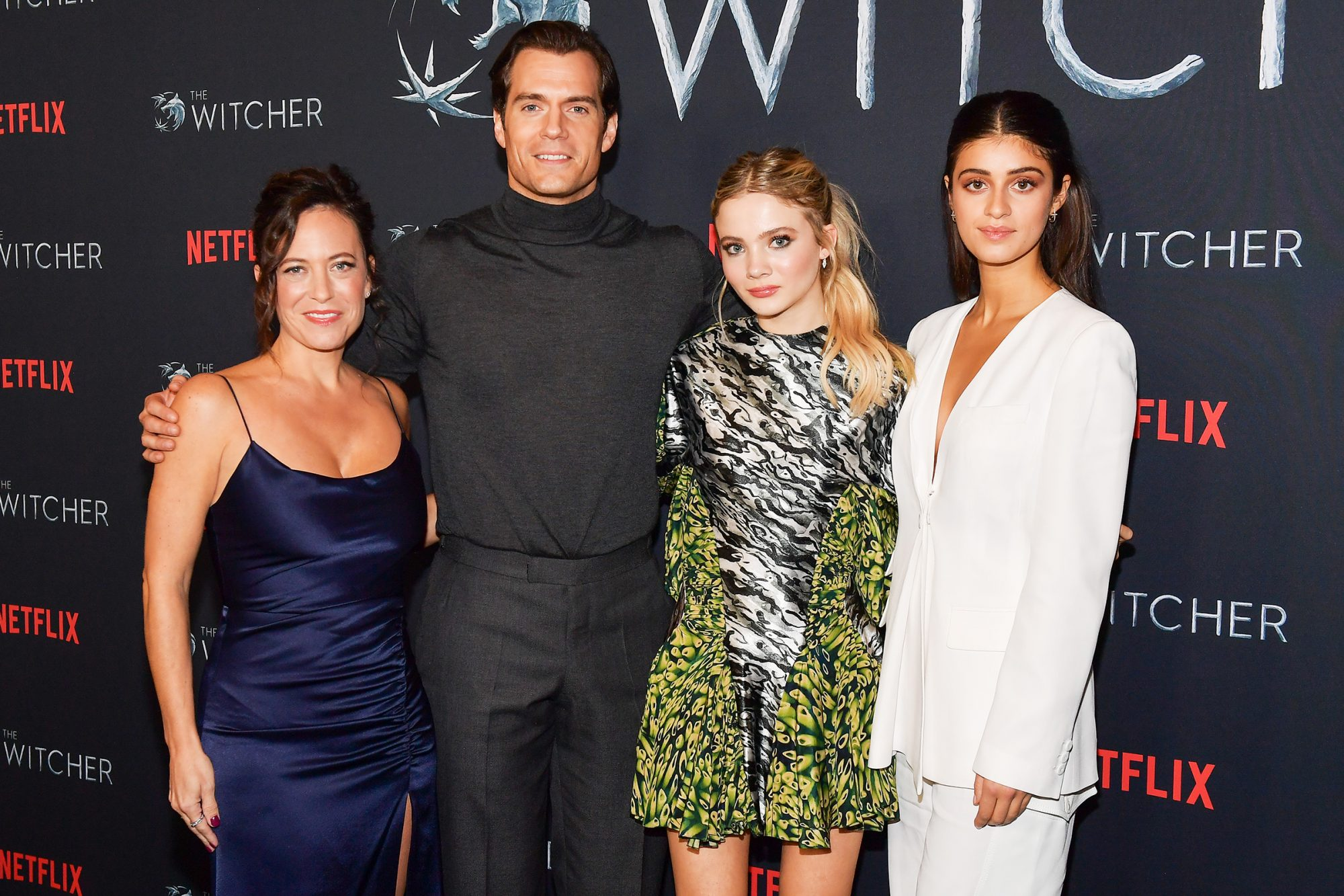 """Lauren Schmidt Hissrich, Henry Cavill, Freya Allan, and Anya Chalotra attend the photocall for Netflix's """"The Witcher"""" season 1 at the Egyptian Theatre on December 03, 2019 in Hollywood"""