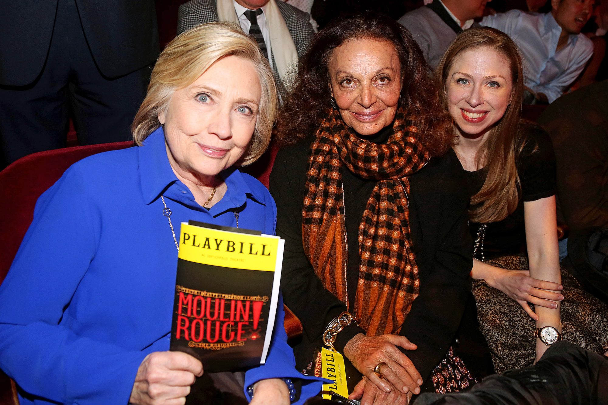 """Hillary Clinton, Diane von Furstenberg and Chelsea Clinton pose at """"Moulin Rouge! The Musical"""" at The Hirshfeld Theatre on December 4, 2019 in New York City"""